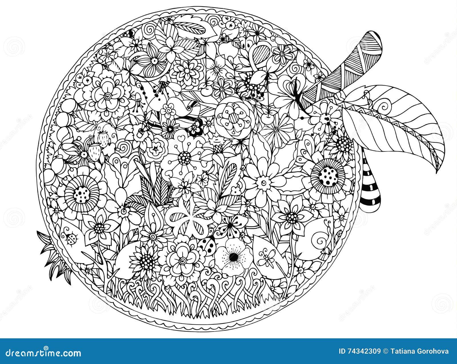 Vektorillustrationzentnagl, äppleblommor Vektor EPS 10 Anti-spänning för färgläggningbok för vuxna människor Svart vit