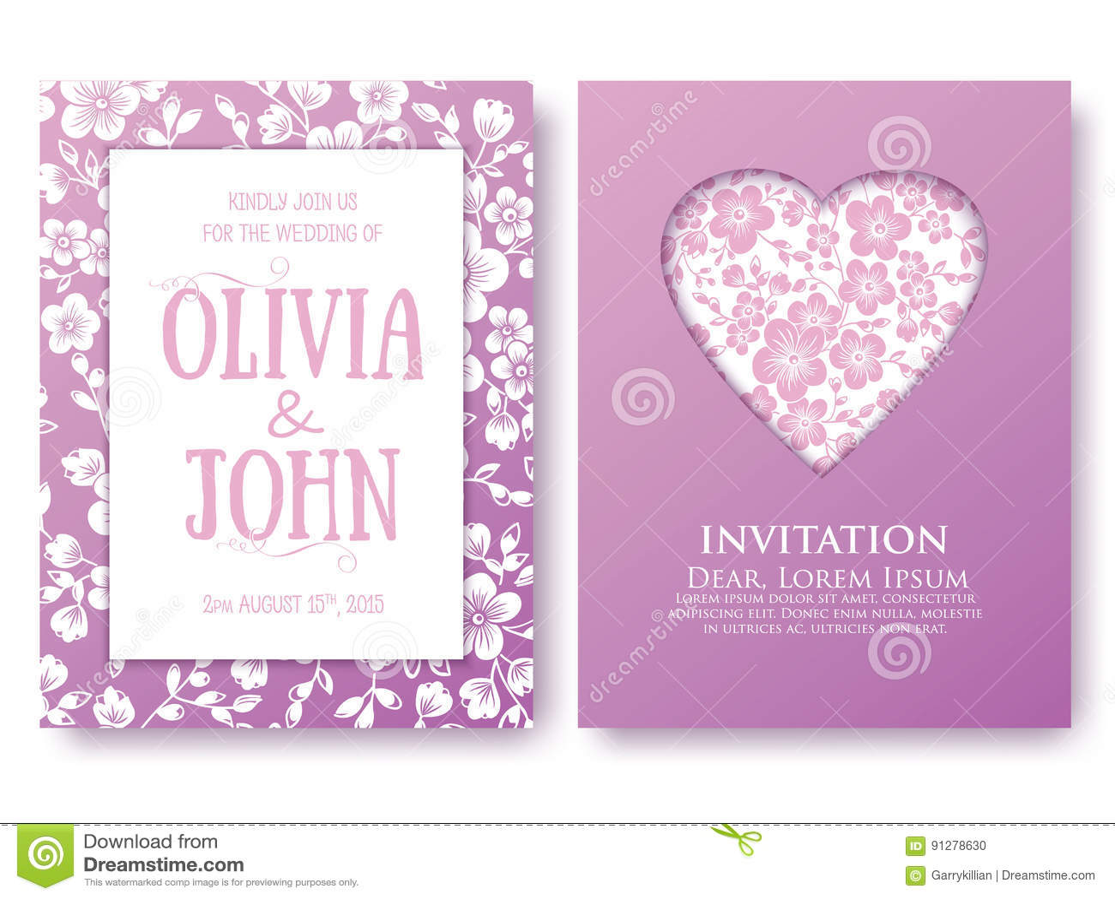 Vektorinbjudan eller bröllop, kort med blom- beståndsdelar Eleganta blom- abstrakt begreppprydnader Främre och tillbaka sida av k