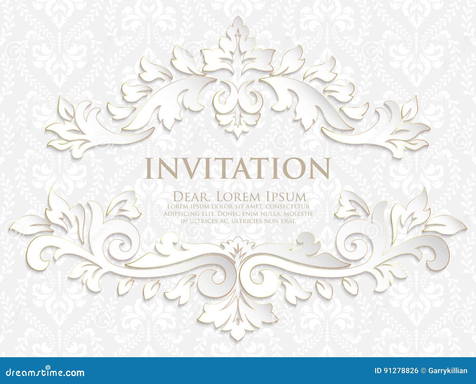 Vektorinbjudan, kort eller bröllopkort med damast bakgrund och eleganta blom- beståndsdelar
