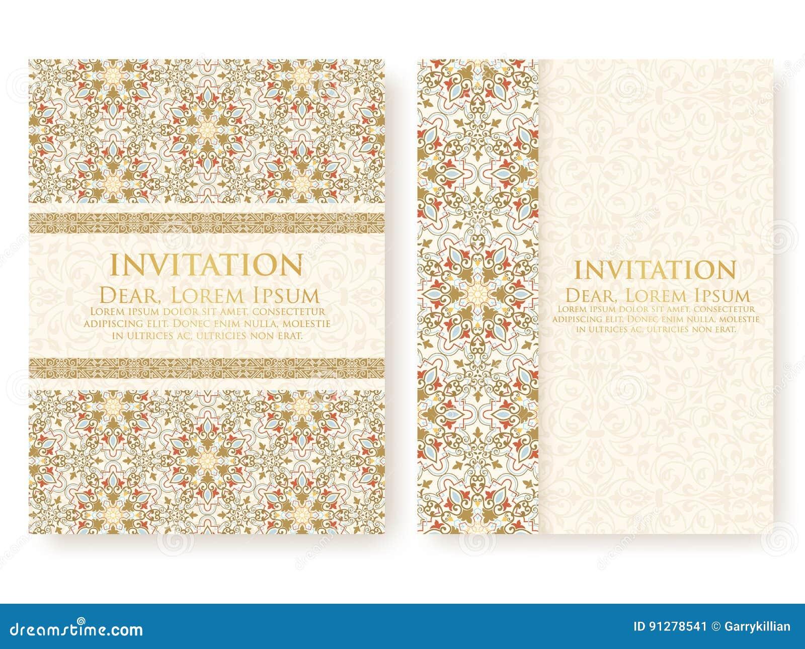 Vektorinbjudan, kort med etniska arabesquebeståndsdelar Arabesquestildesign