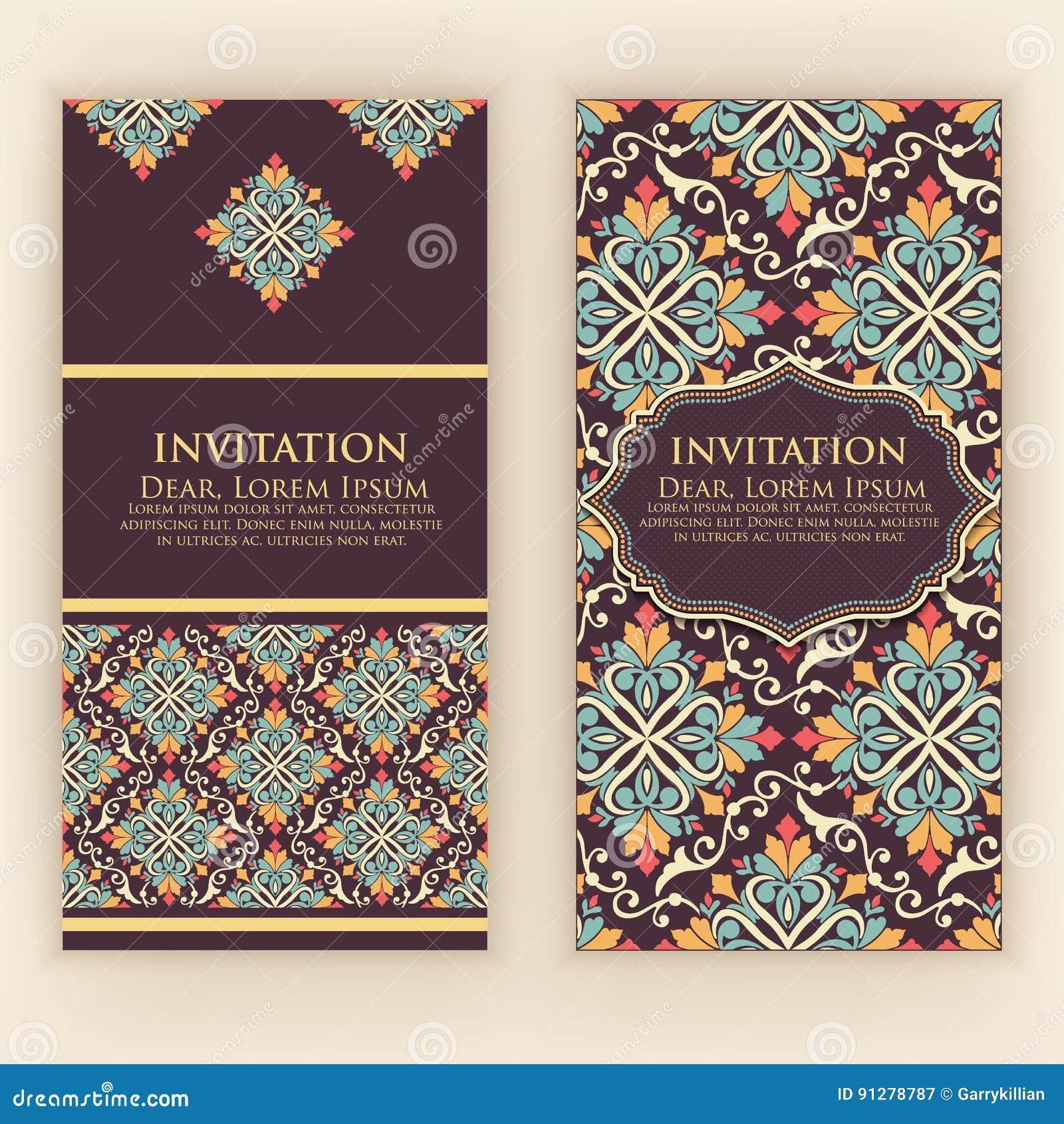 Vektorinbjudan, kort med etniska arabesquebeståndsdelar Arabesquestildesign Eleganta blom- abstrakt begreppprydnader