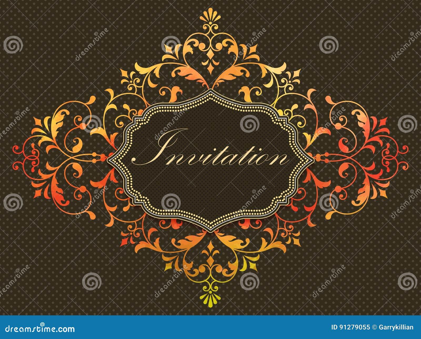 Vektorinbjudankort med den damast beståndsdelen för vattenfärg på den mörka bakgrunden Arabesquestildesign elegant inbjudan