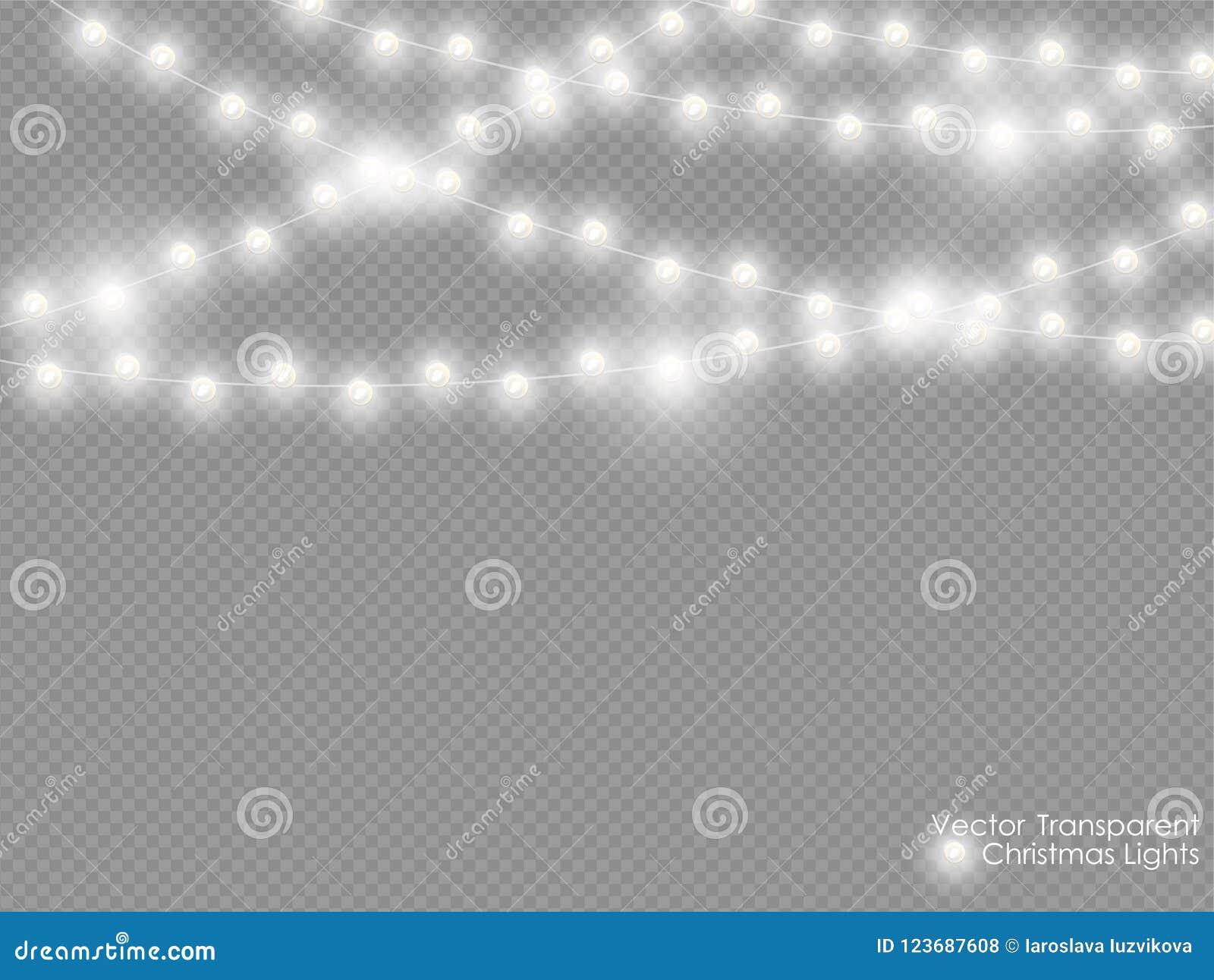 Vektorjulljus som isoleras på genomskinlig bakgrund Garnering för ljus för nytt år för Xmas glödande vit semitransparent
