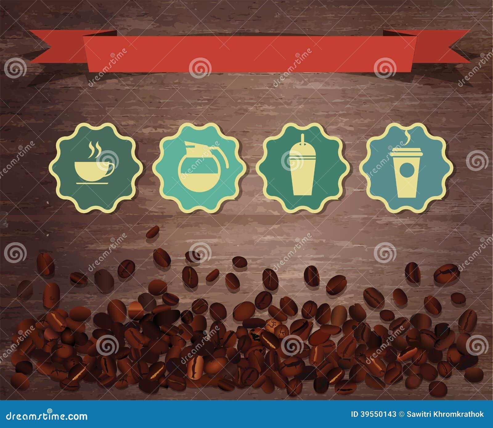 Vektorkaffebönor på wood bakgrund
