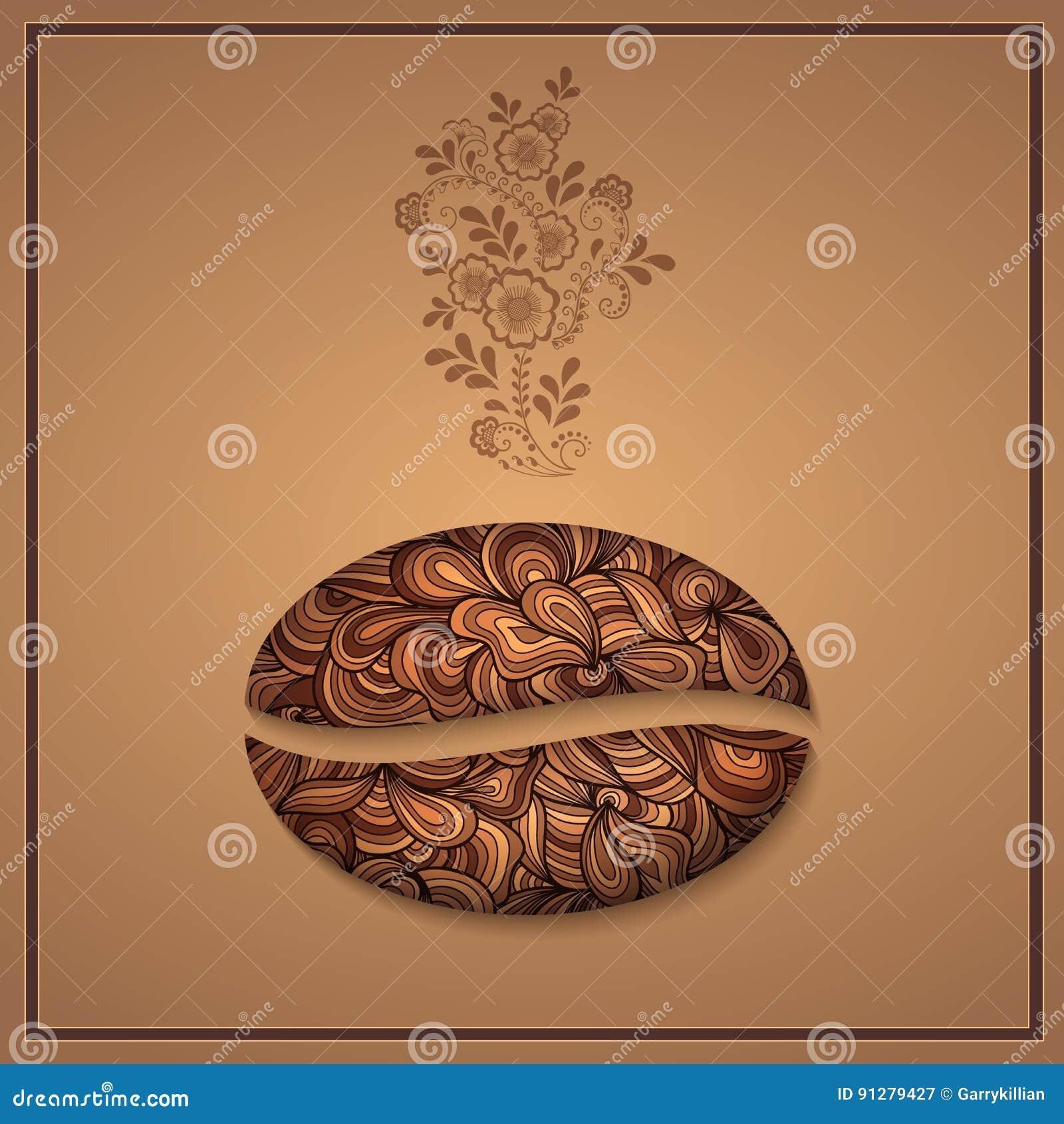 Vektorkaffebakgrund med blom- modellbeståndsdelar Mall för kort eller meny Eleganta kaffevektorbeståndsdelar Design
