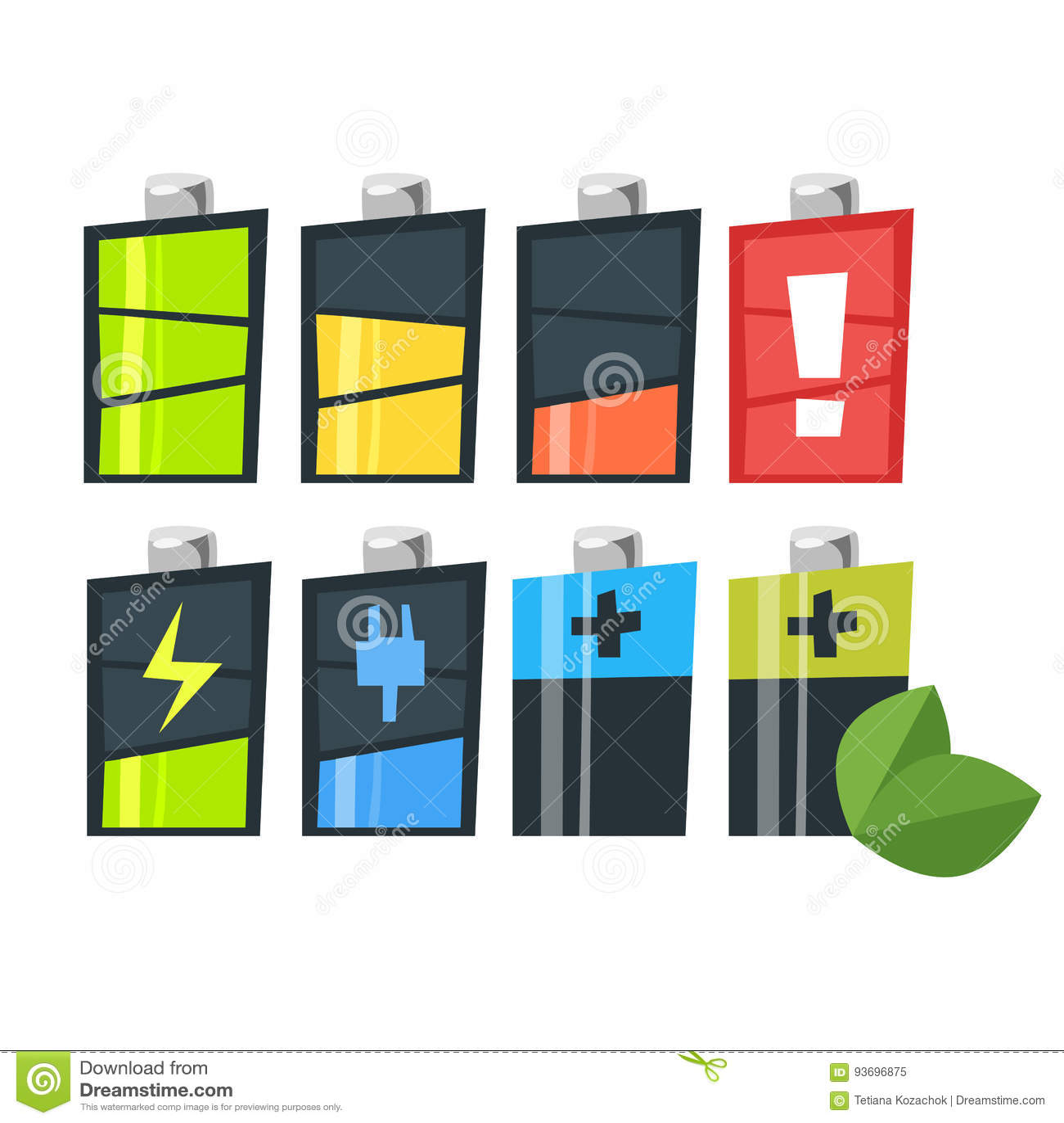Vektorkarikatur-Artsatz Batterien Ikone für Netz