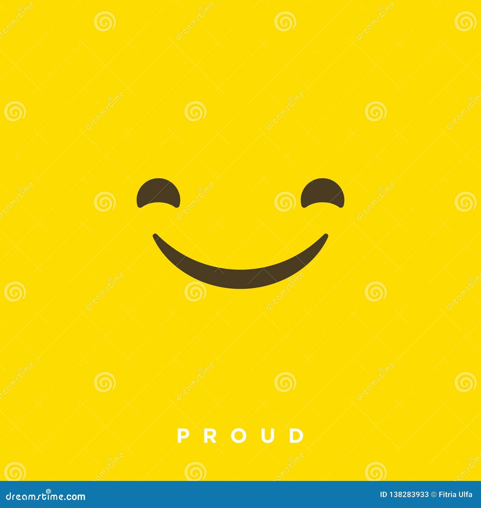 Vektorkarikatur der hohen Qualität mit stolzen Emoticons mit flacher Entwurfs-Art, Social Media-Reaktionen - Vektor EPS10