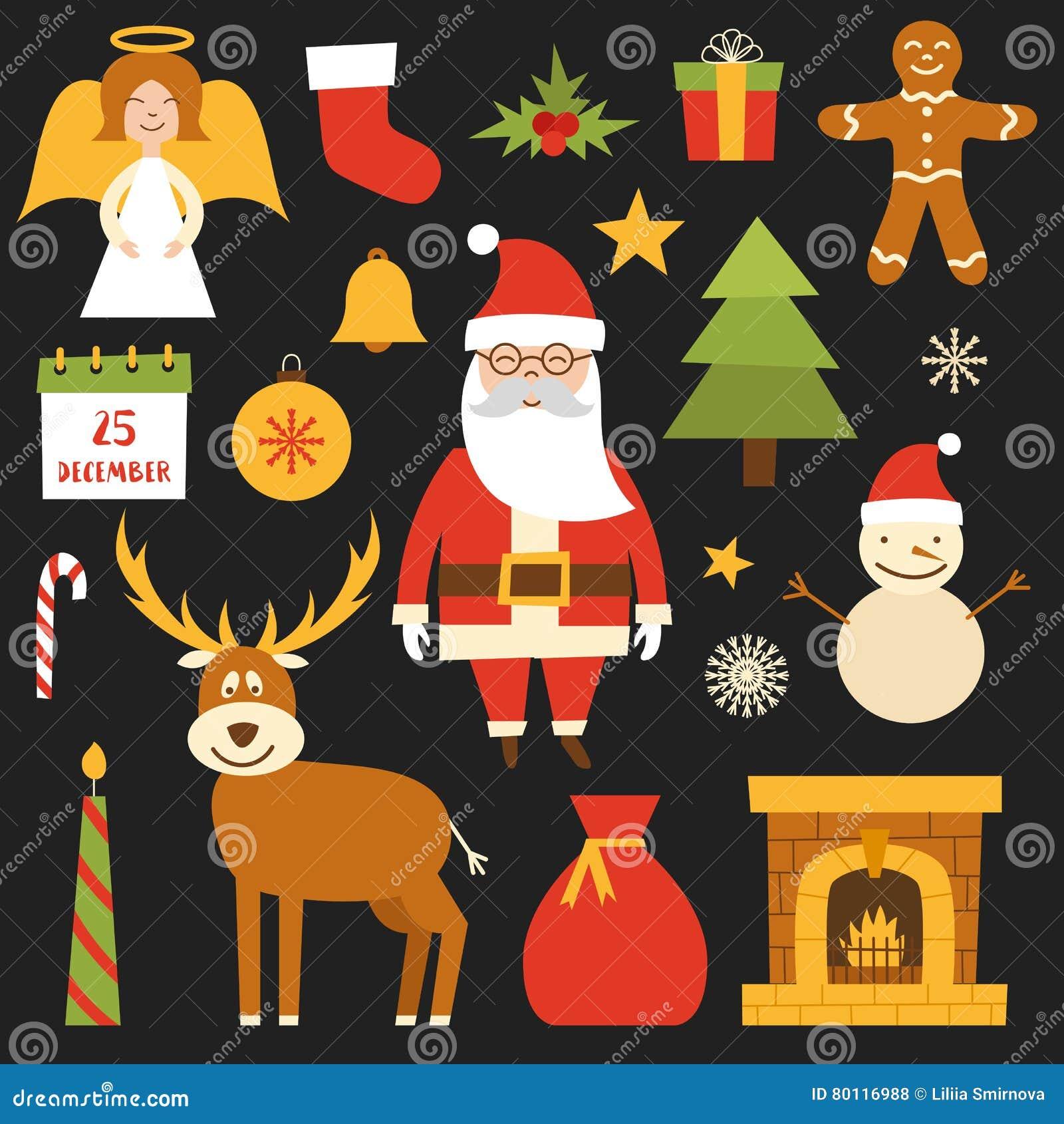 Vektorkarikatur Weihnachten, Ikonen des neuen Jahres