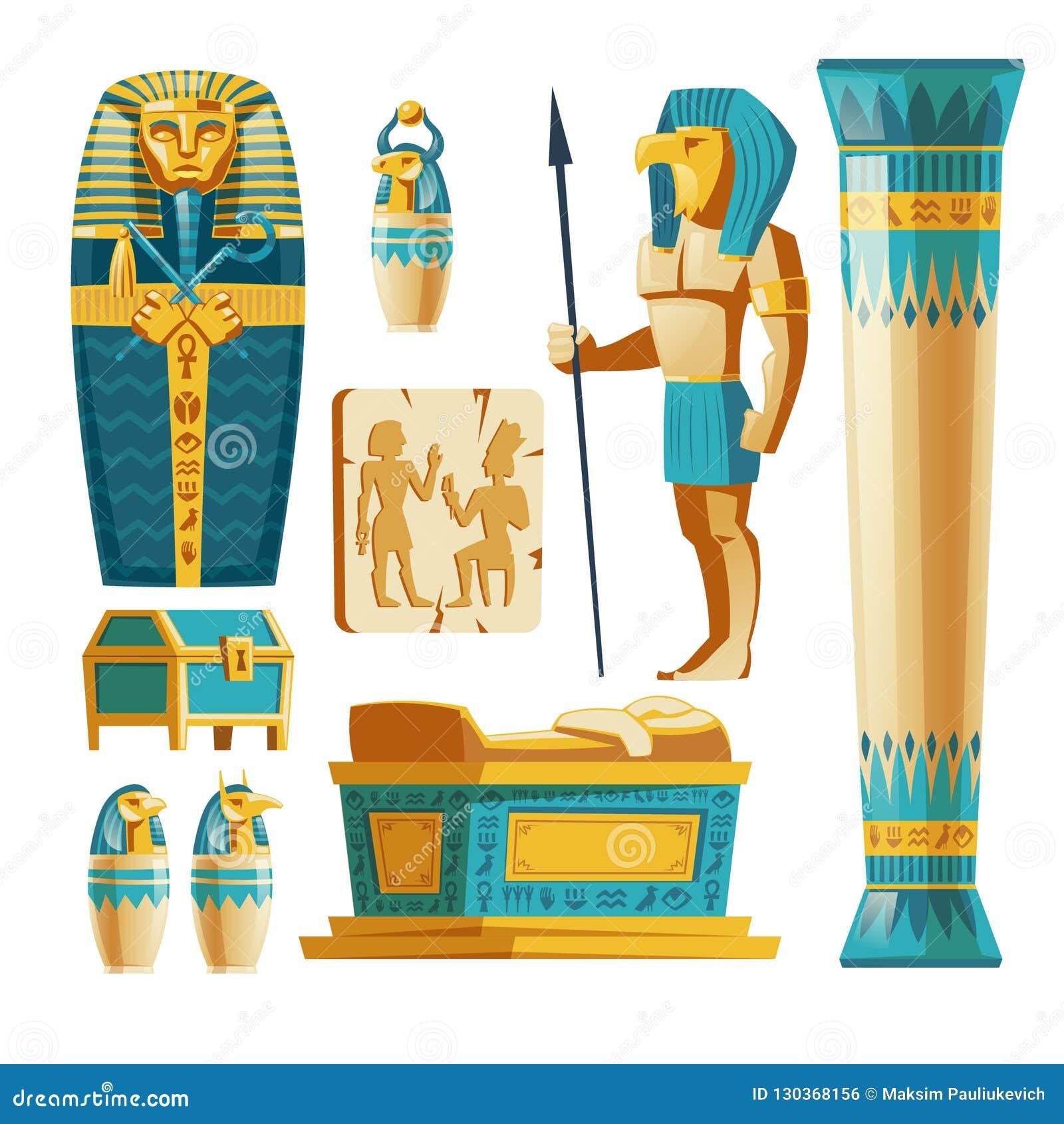 Vektorkarikatursatz altes Ägypten-Gegenstände