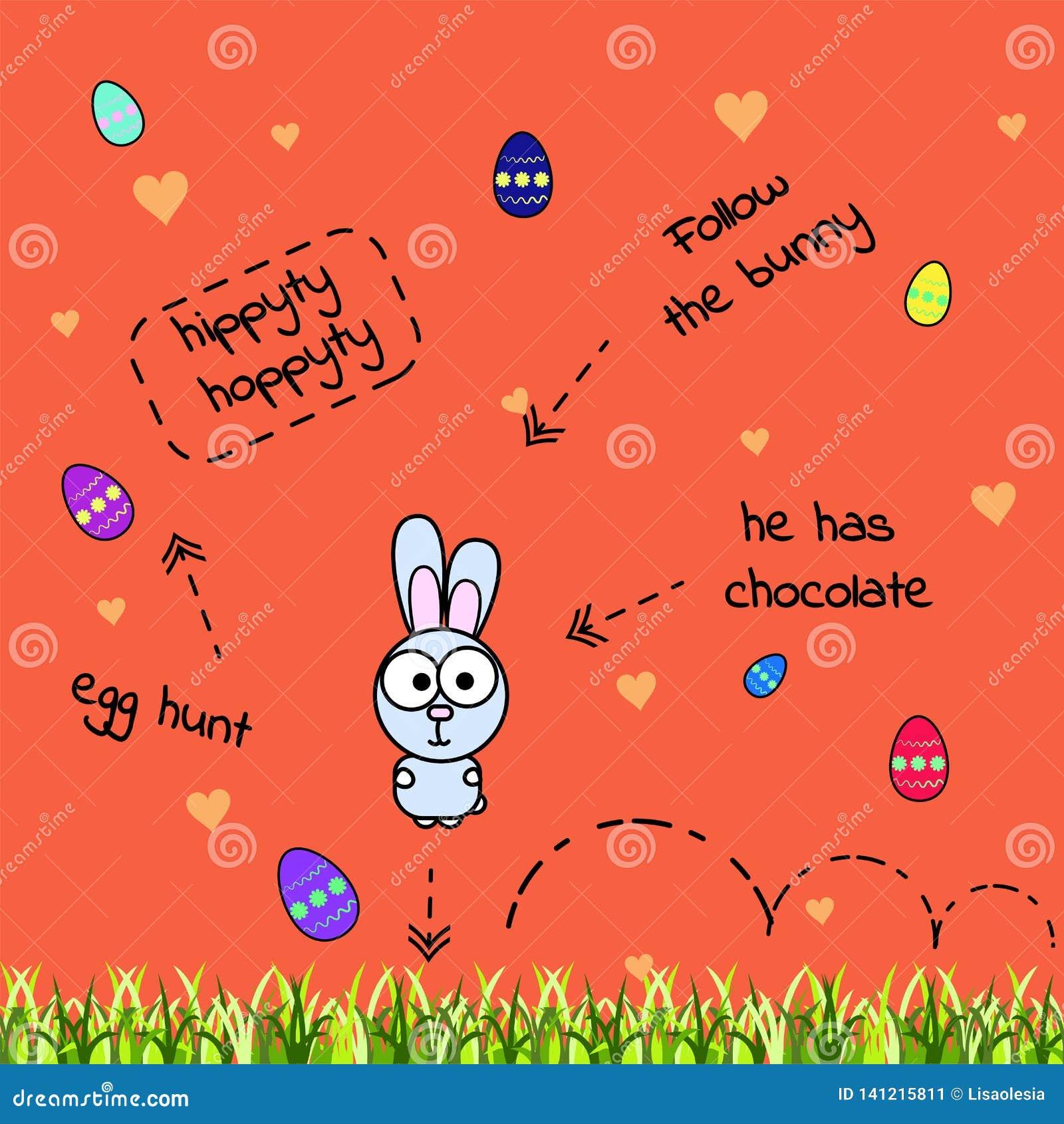 Vektorkarte mit dem Springen des grauen komischen Kaninchens und der zerstreuten Farbeneier Ei-Jagd Das Häschen hat Schokolade Il