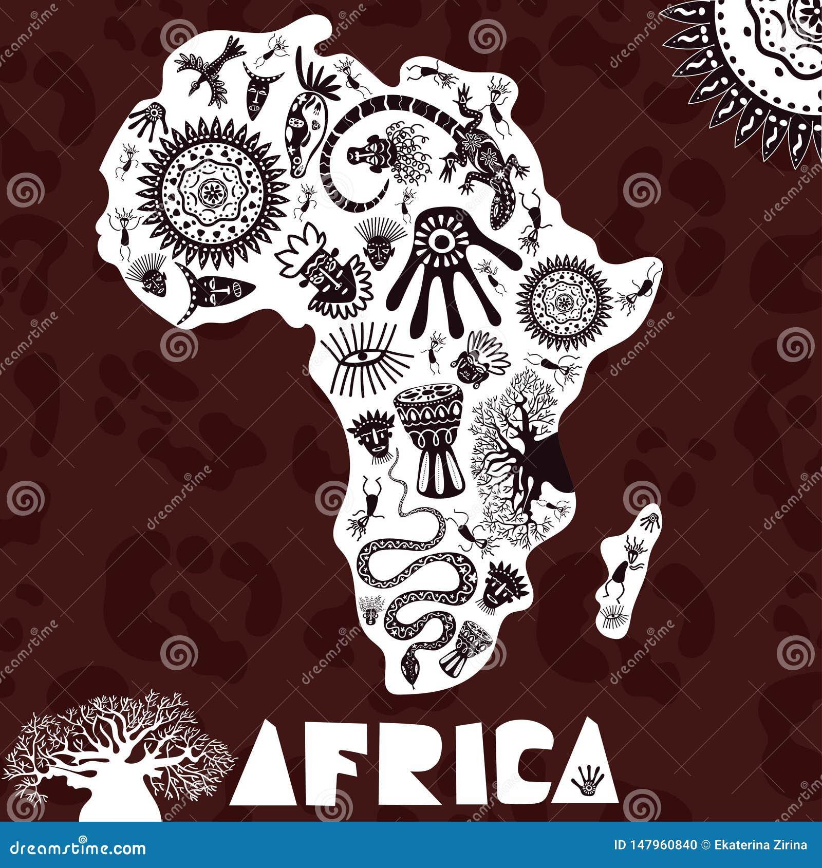 Vektorkarte von Afrika mit ethno Muster, Stammes- Hintergrund Vektorillustration von Afrika auf Pantherhauthintergrund