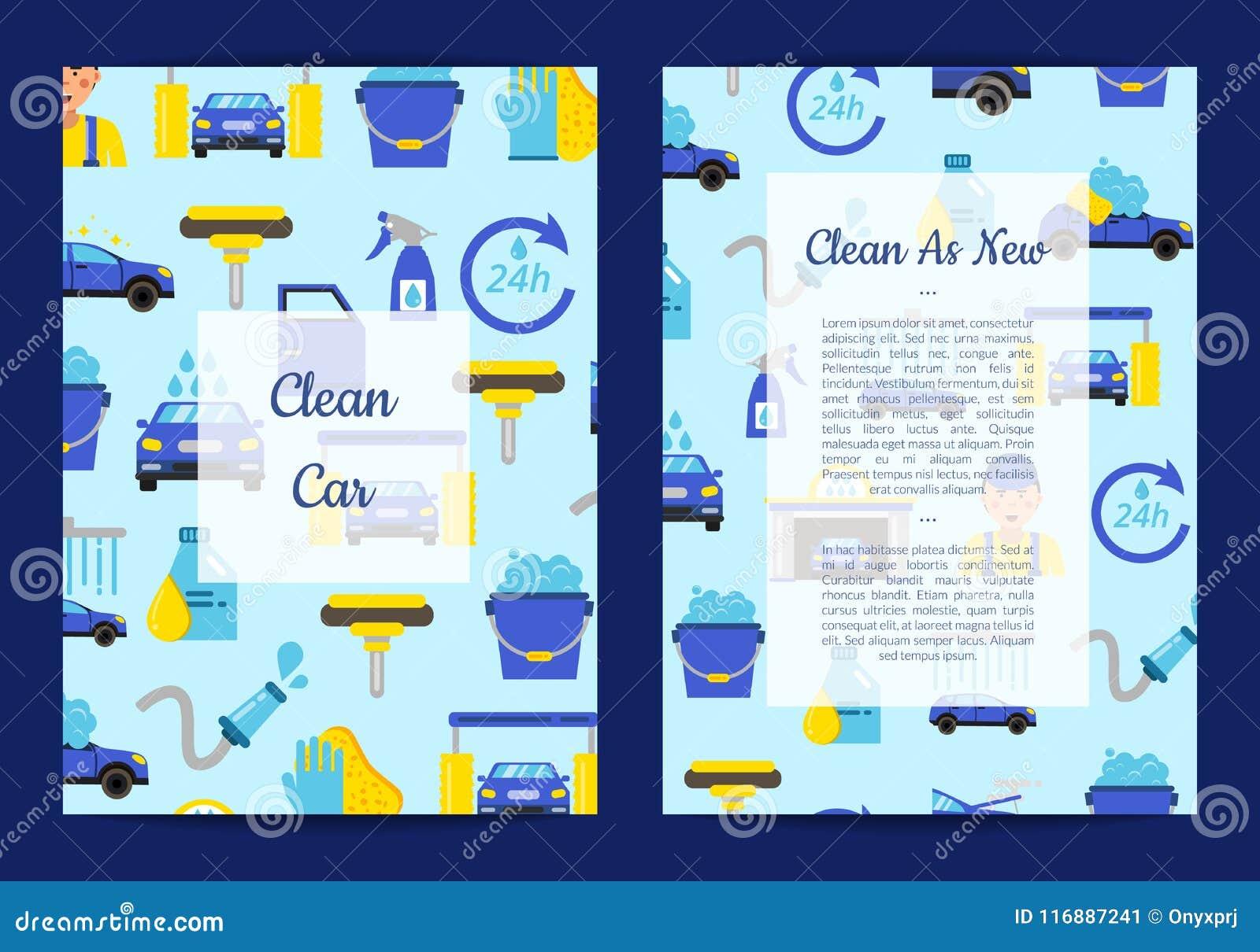 Vektorkartenschablonen stellten für mit flache Ikonen der Waschanlage ein