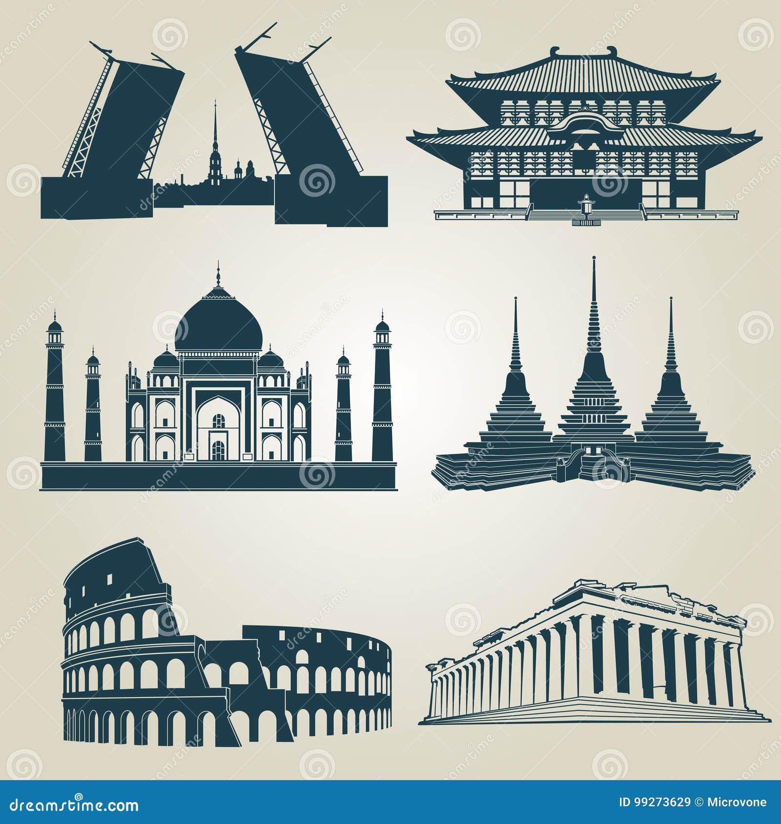 Vektorkonturer av turist- dragningar för värld Berömda gränsmärken och destinationssymboler