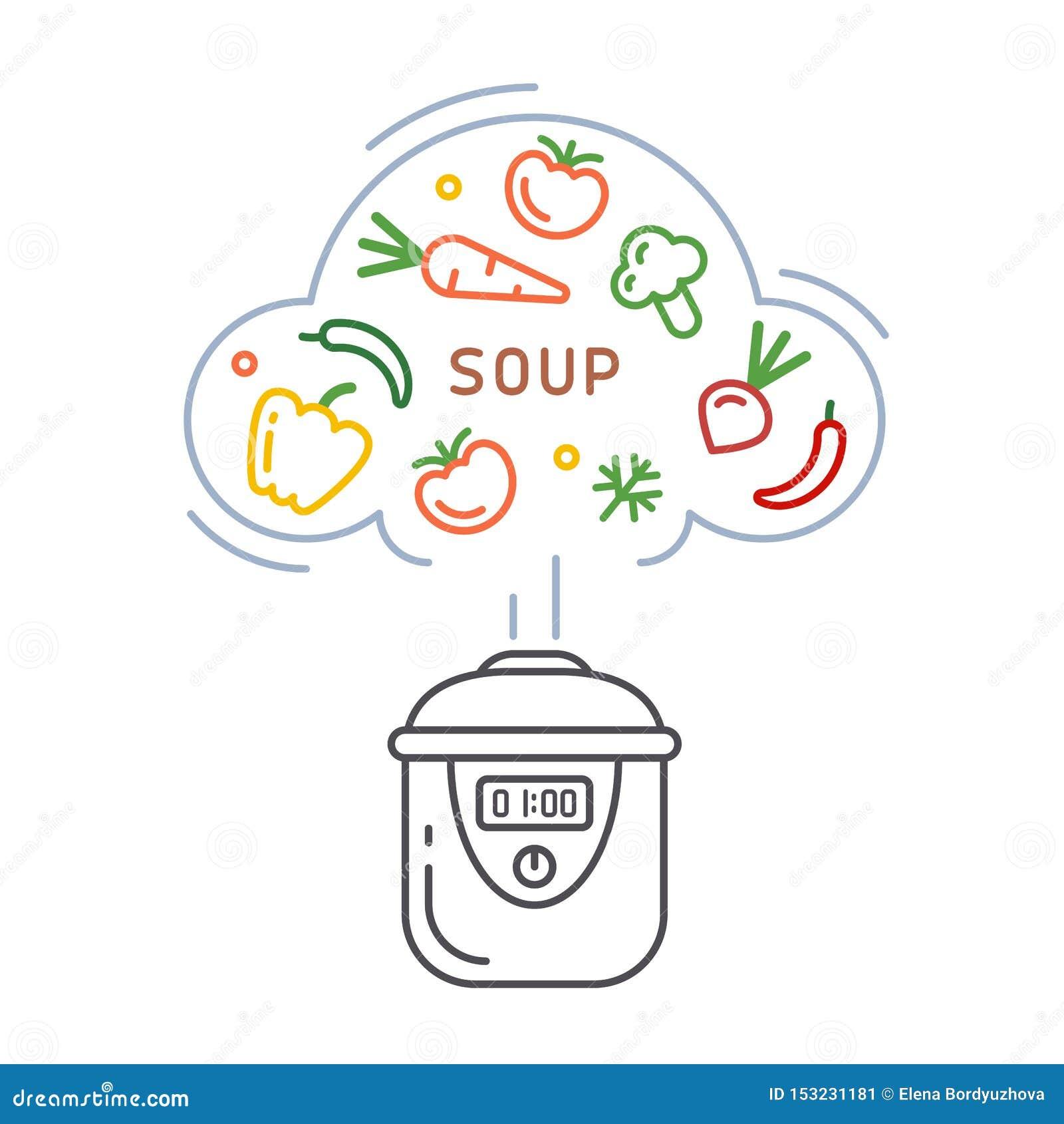 Vektorkonzept des Kochens der Suppe in einem langsamen Kocher