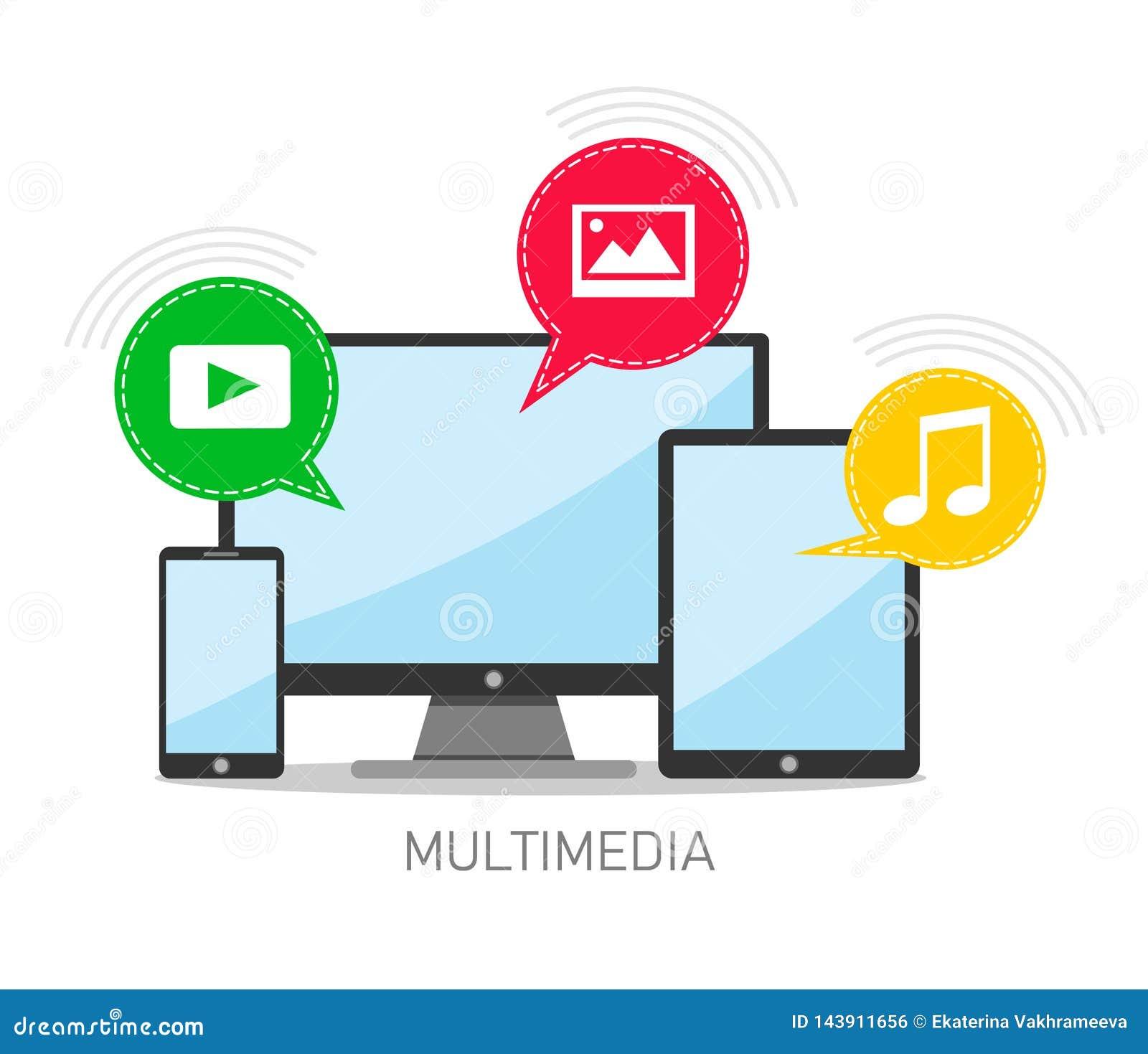 Vektorkonzept von Multimediadateien und -Multimedia-Kommunikation Vektorabbildung auf weißem Hintergrund