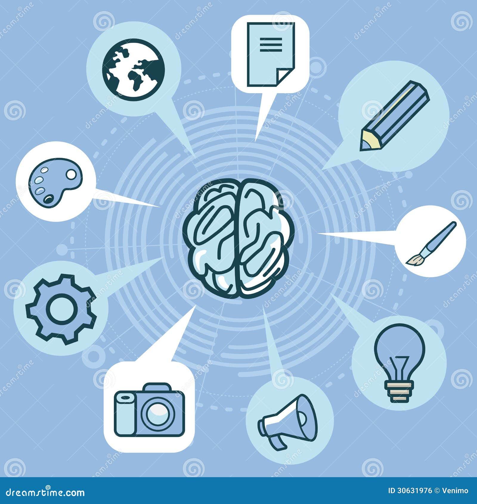 Vektorkreativitätskonzept - Gehirn und Ikonen