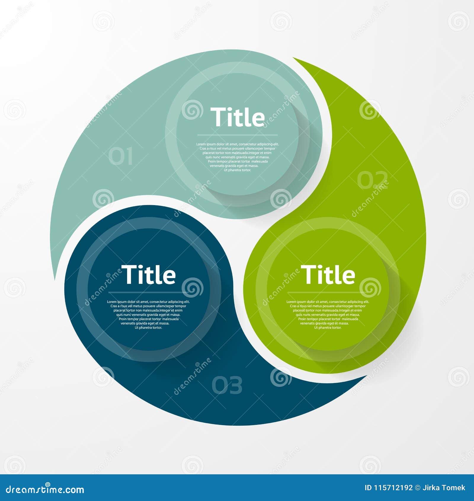 Vektorkreis infographic Schablone für Diagramm, Diagramm, Darstellung und Diagramm Geschäftskonzept mit drei Wahlen, Teile, Schri