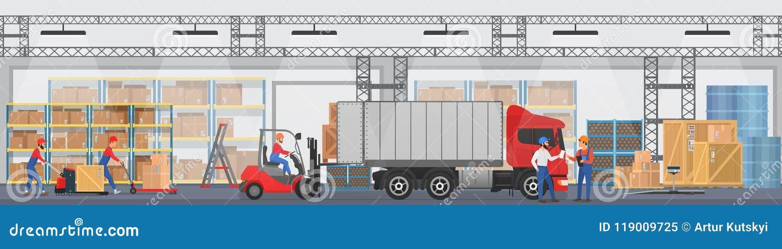 Vektorlagerinre med arbetare som ordnar gods på hyllorna och doppet, boxas in i en lastbil Modernt lager