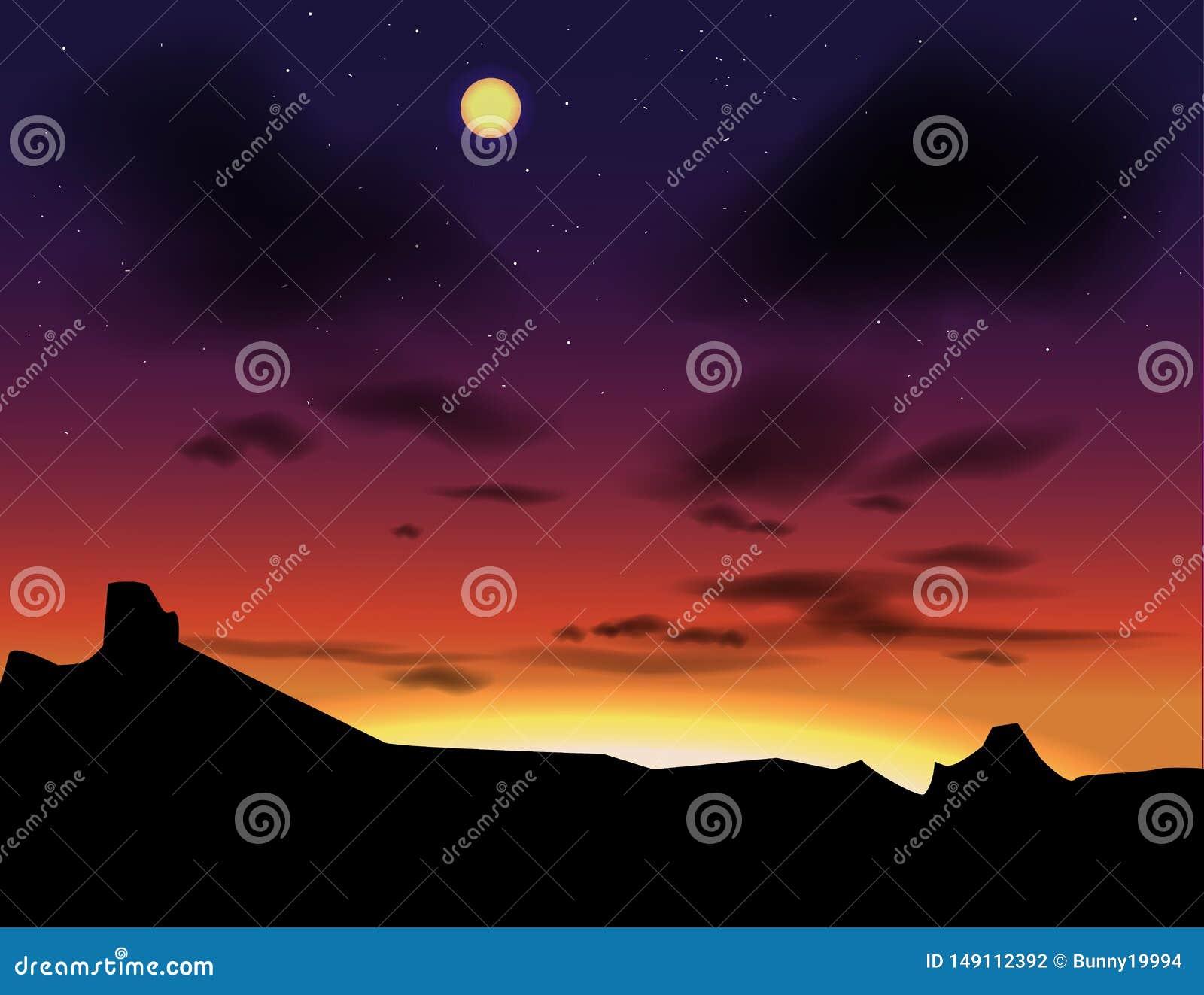 Vektorlandskap med aftonhimlar Solnedg?ng som en bakgrund