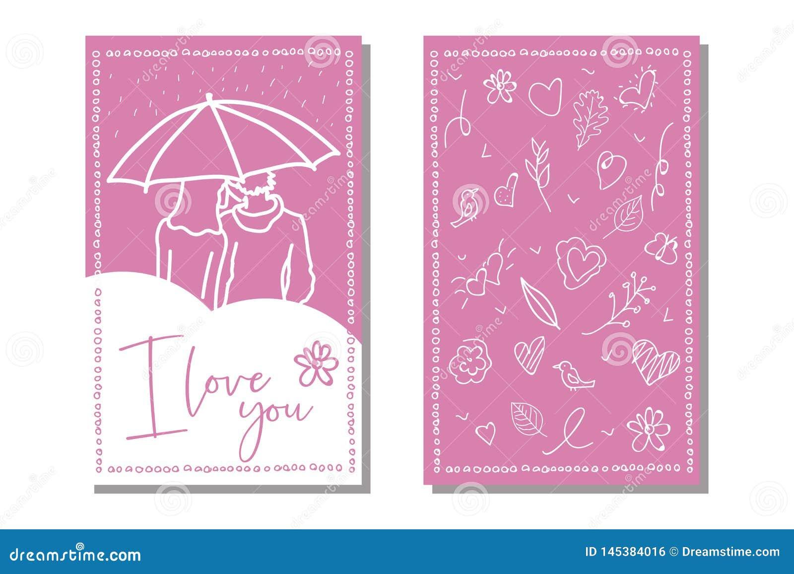 Vektorliebes-Kartenschablone Handgezogener Aufkleber oder -plakat Weinleseliebes-Beschriftungshintergrund