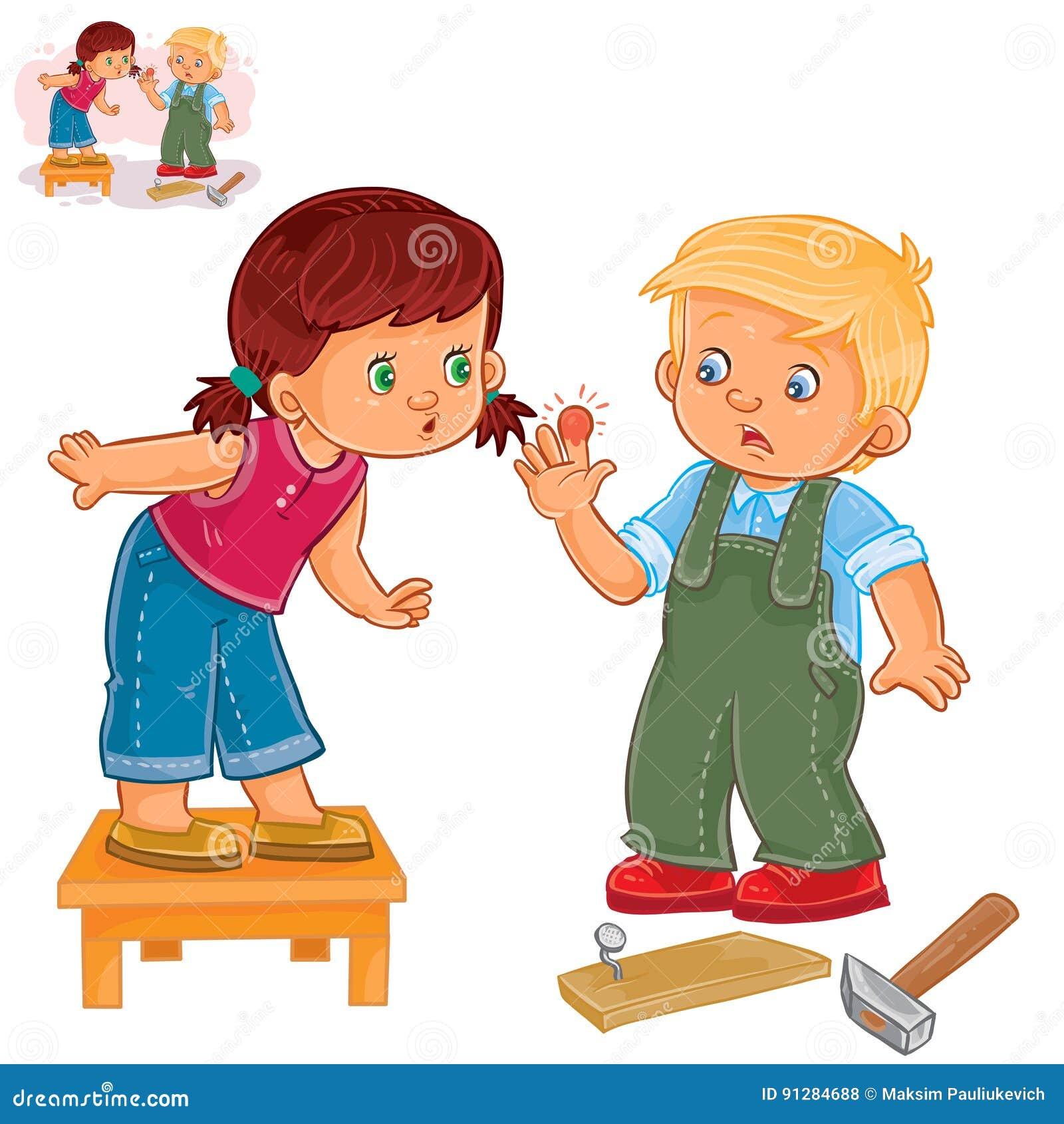 Vektorlilla flickan sympatiserar med lite pojken som slogg ett finger med en hammare