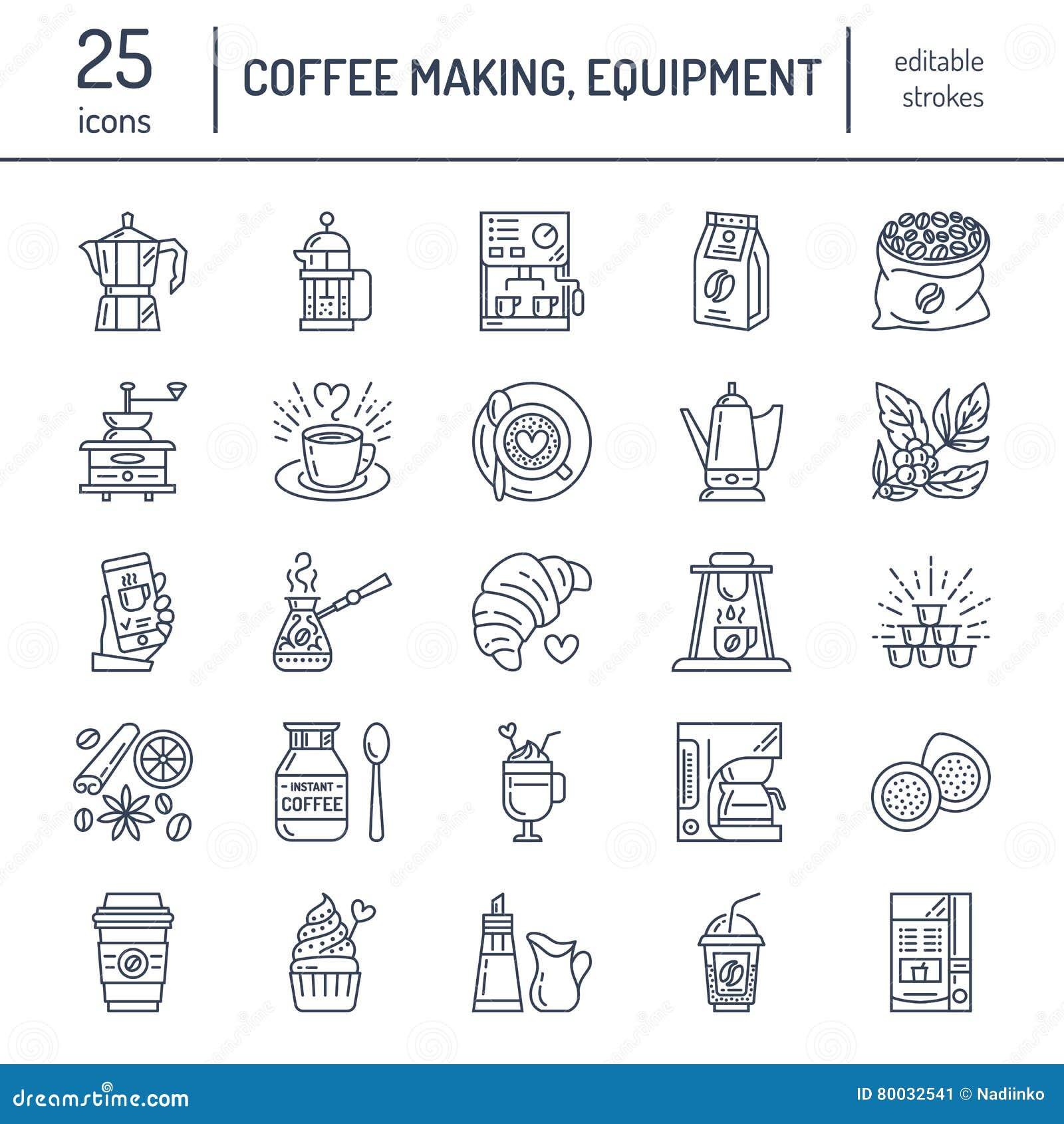Vektorlinie Ikonen des Kaffees Geräte herstellend Elemente - moka Topf, Franzosepresse, Kaffeemühle, Espresso, verkaufend