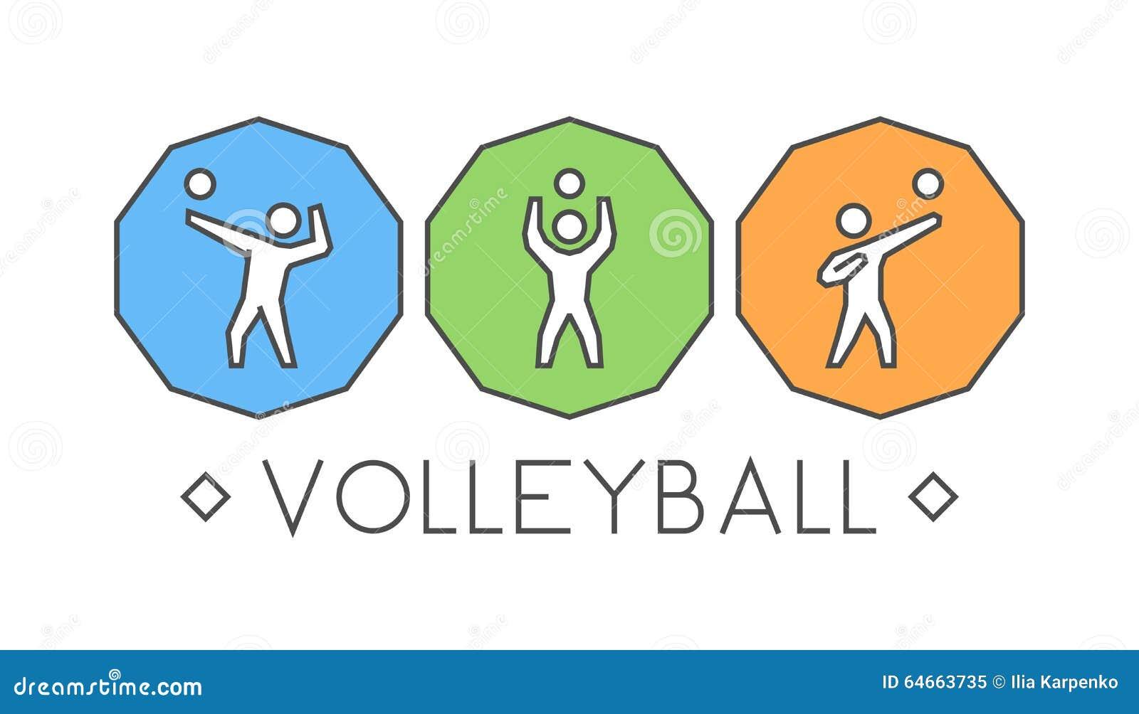 Vektorlinie Volleyballlogo Und Ikonen Schattenbilder Von Zahlen Vl