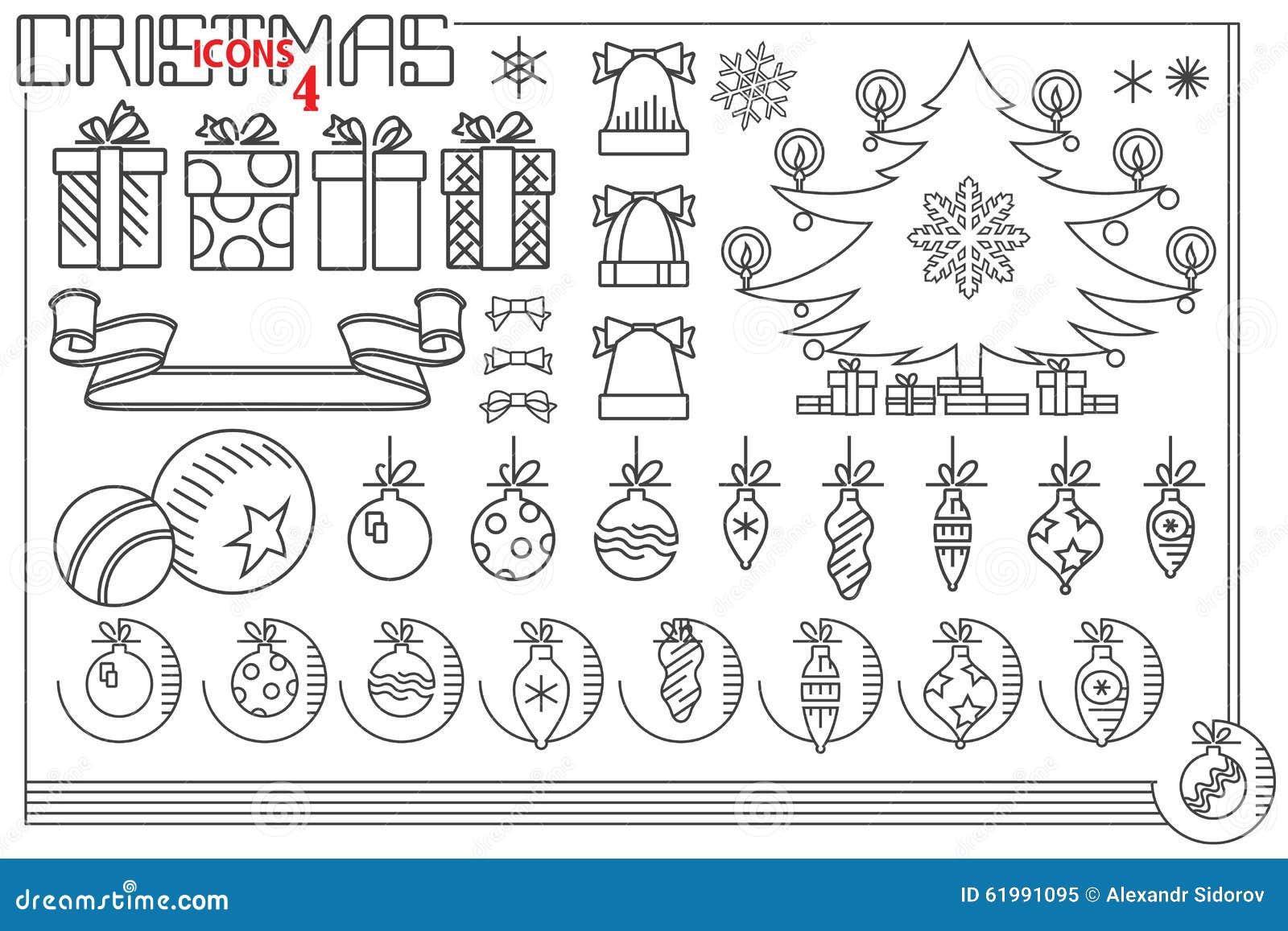 Vektorlinje diagram Uppsättning av symboler för jul och för nytt år