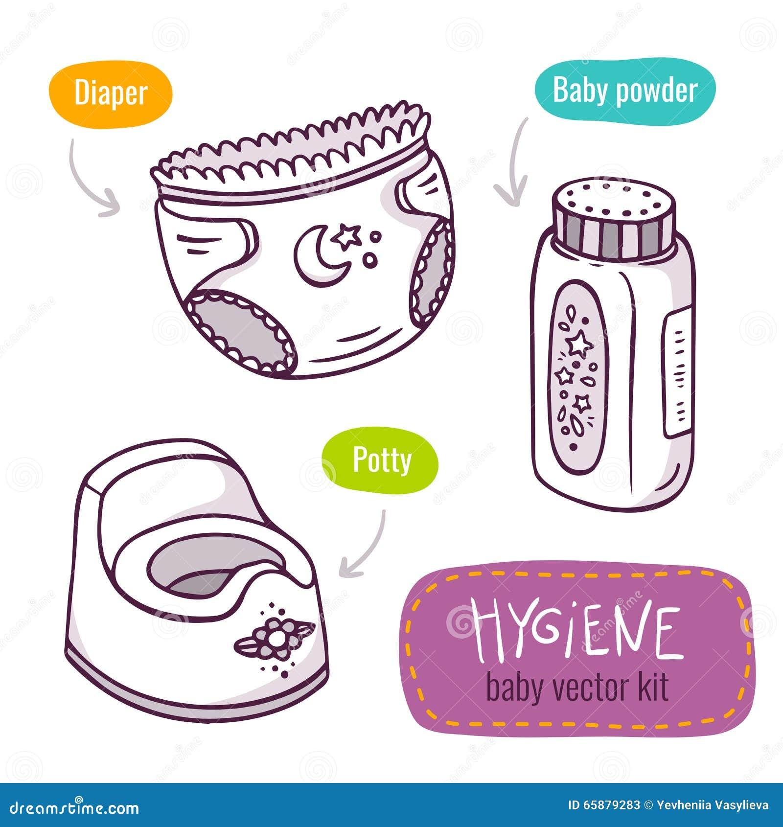 Vektorlinjen konstsymbolsuppsättning med behandla som ett barn produkter för hygien
