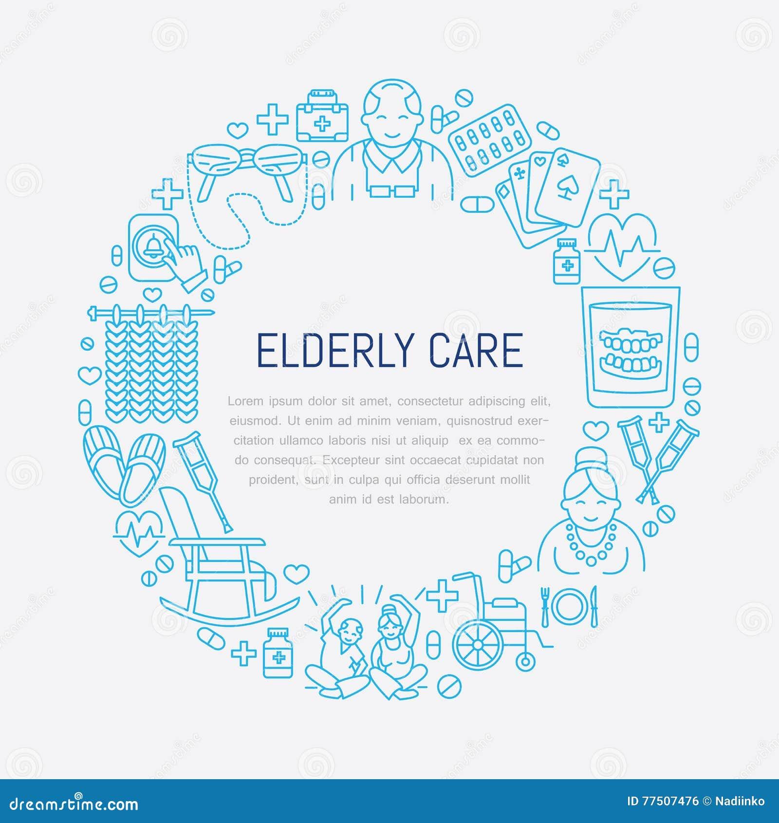 Vektorlinjen symbol av pensionären och åldringen att bry sig Medicinsk affischmall med illustrationen av gamla människor, rullsto
