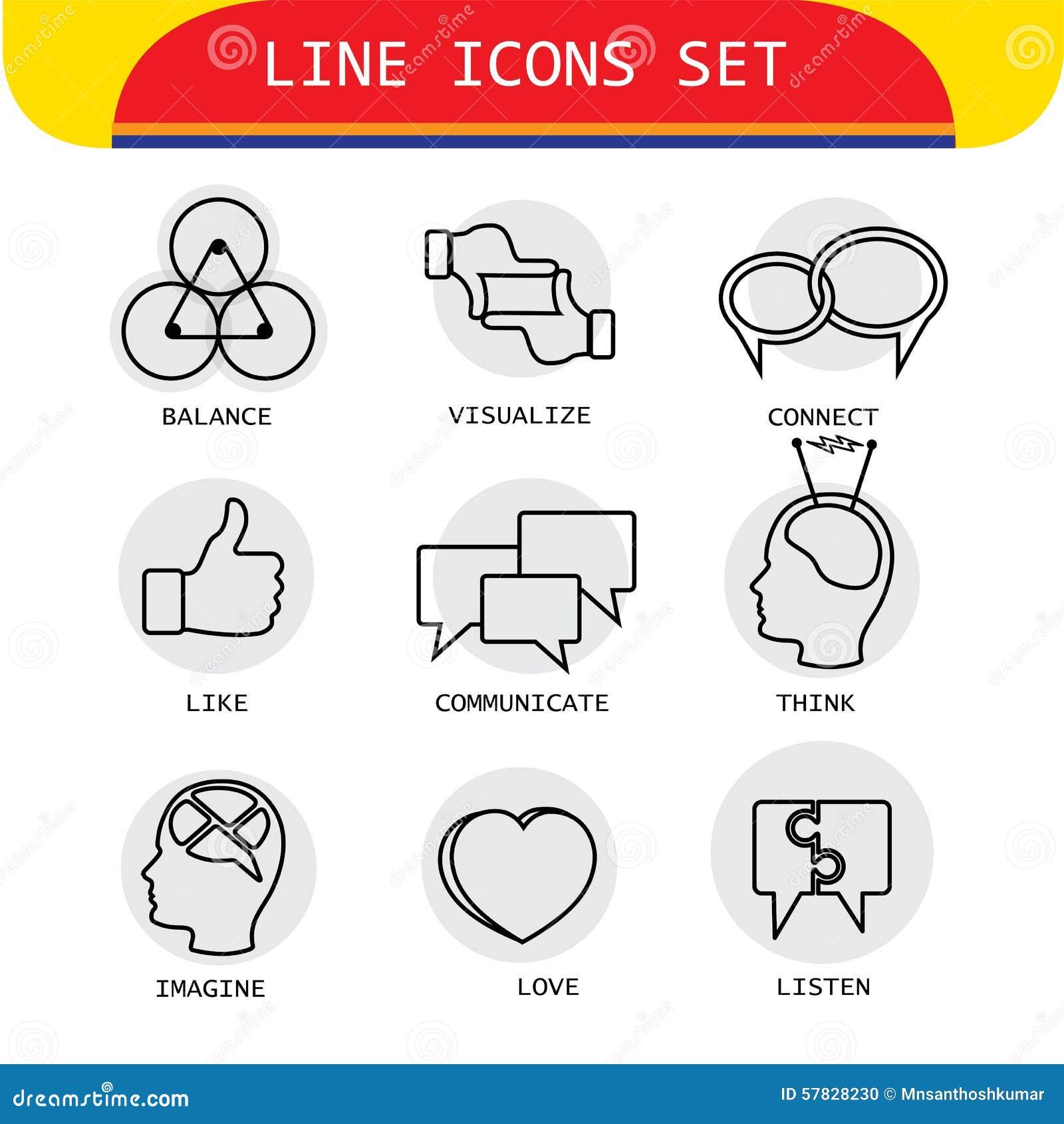 Vektorlinjen symboler av mänskliga handlingar gillar att älska och att lyssna, funderaren