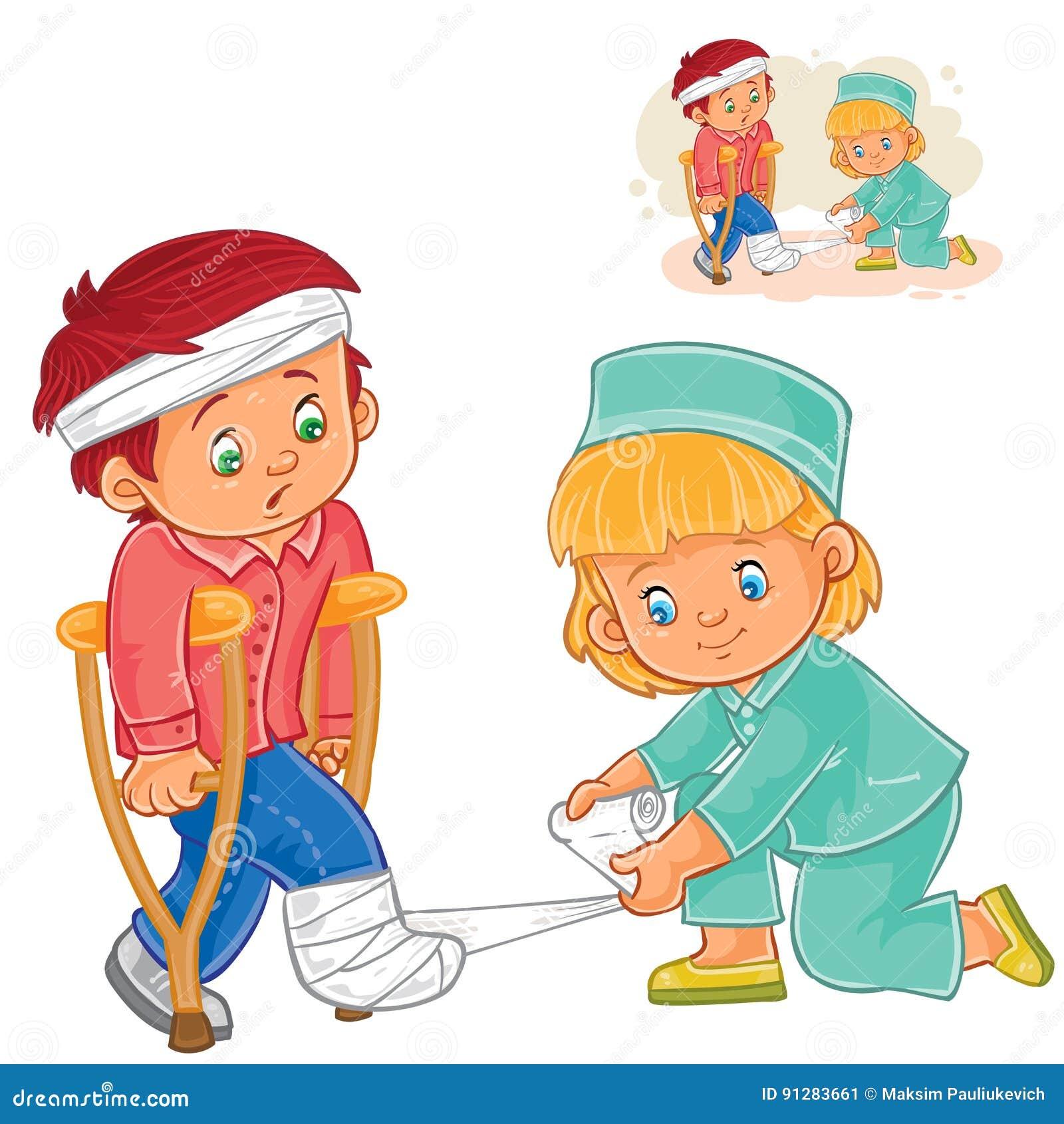 Vektorliten flicka en sjuksköterska som lite sätter band ett ben till pojken på kryckor