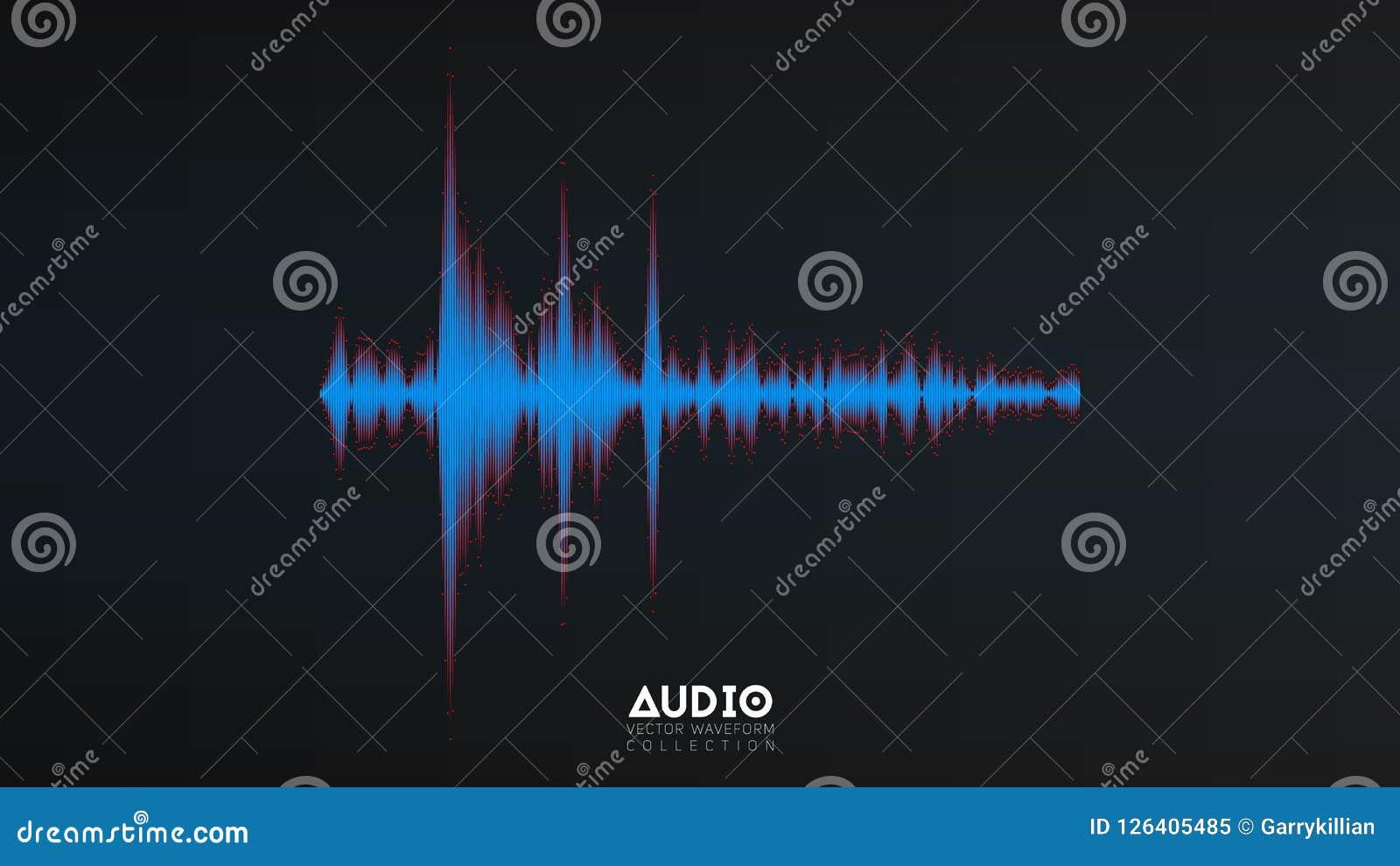 Vektorljudsignalwavefrom Abstrakt musik vinkar svängning Futuristisk visualization för solid våg Syntetisk musikteknologi
