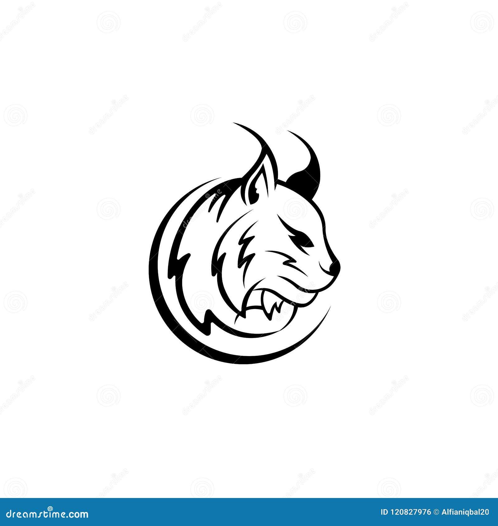 Vektorlodjurhuvudet, framsidan för retro logoer, emblem, emblem, etiketter mall och t-skjorta tappning planlägger beståndsdelen I
