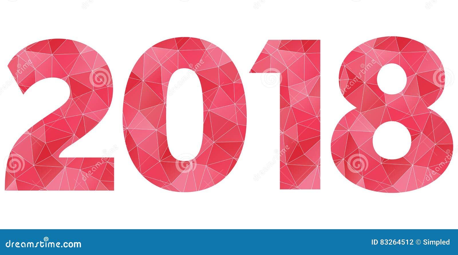 Vektorlogo Des Guten Rutsch Ins Neue Jahr 2018 Rotes Und Rosa ...