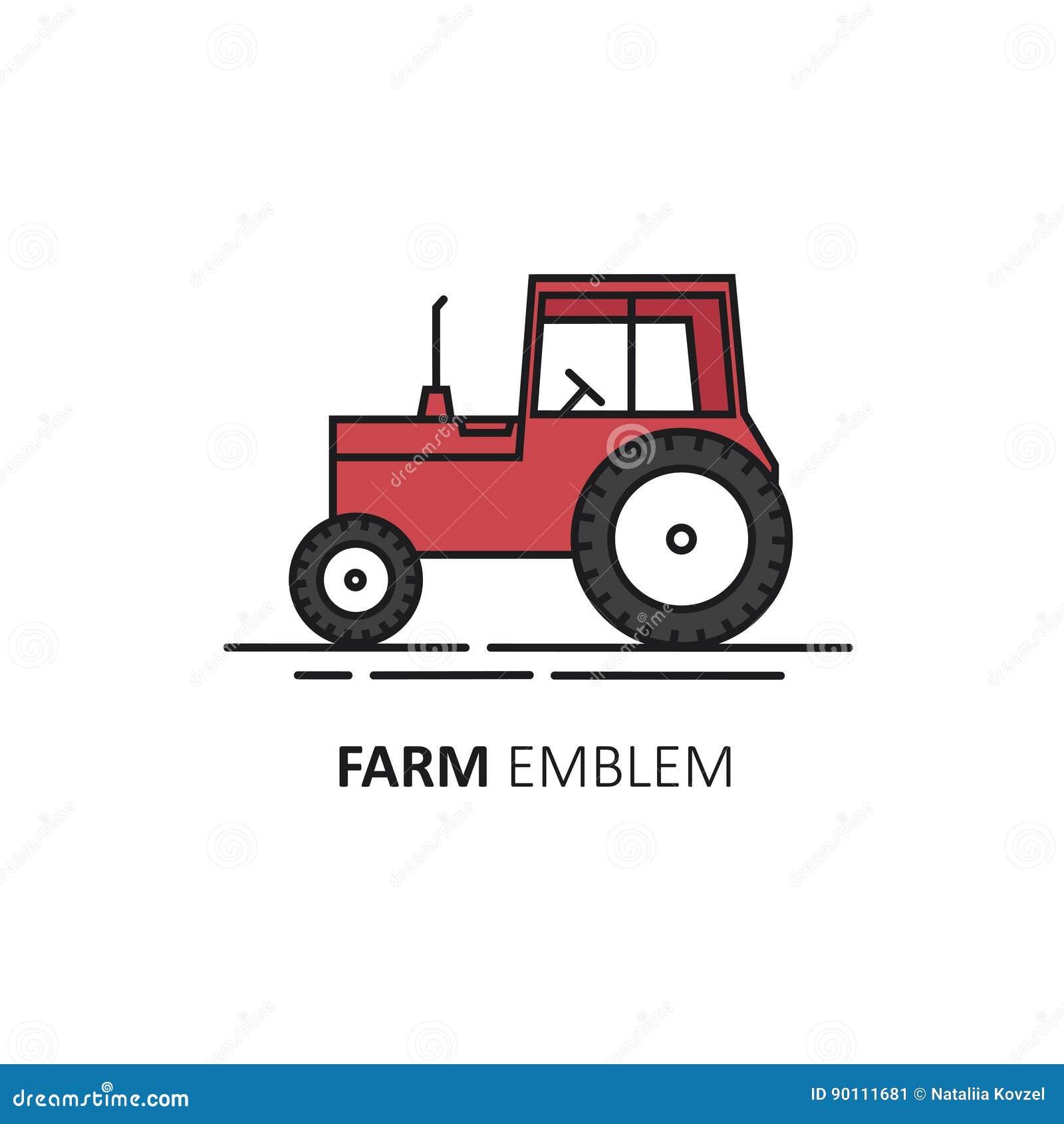 Vektorlogo Designschablone In Der Linearen Art Roter Traktor