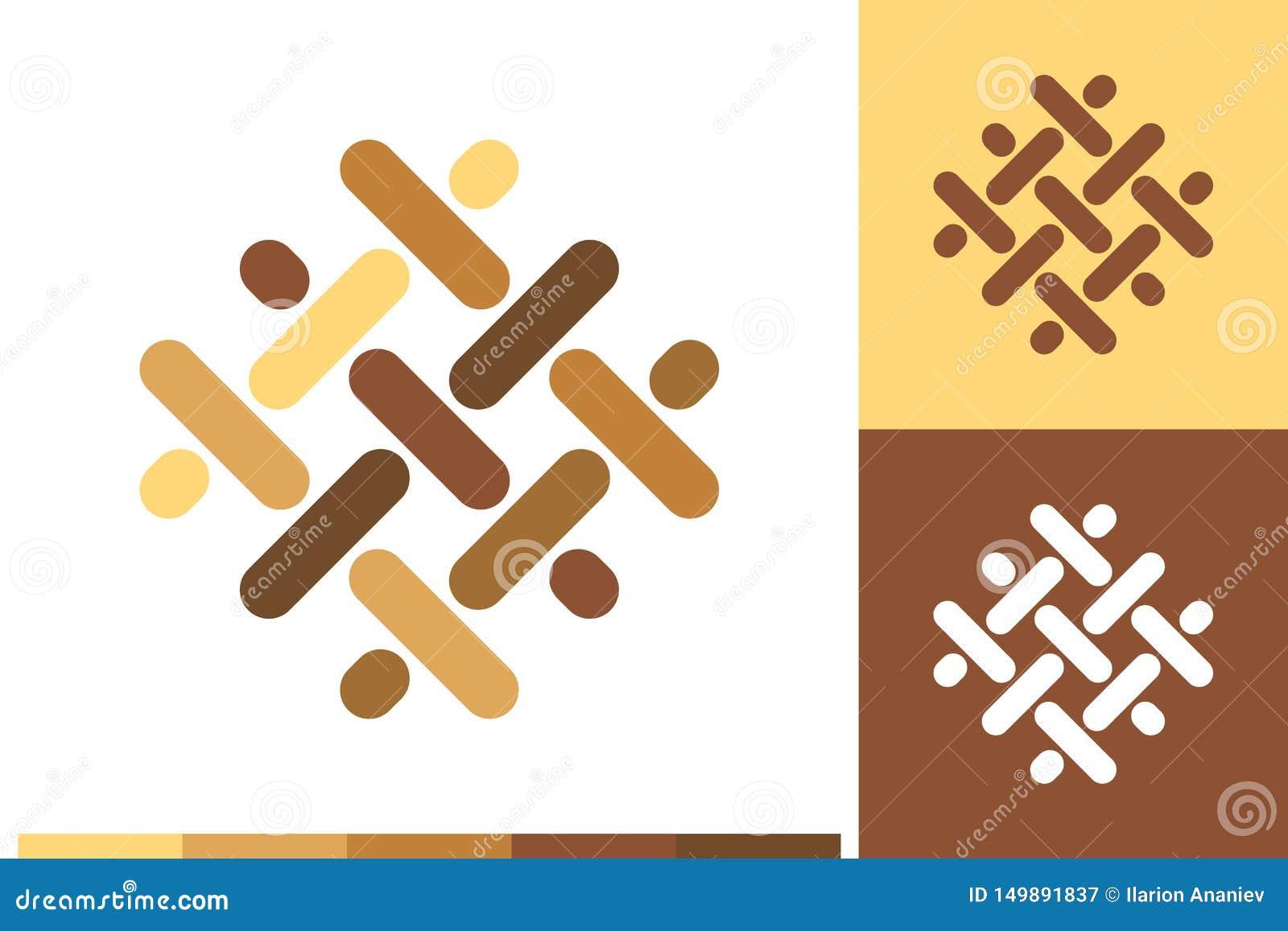 Vektorlogo, symbol eller tecken med durken, parkett, laminat, bråte, snickeri, ädelträbeståndsdelar i naturliga färger för affär,
