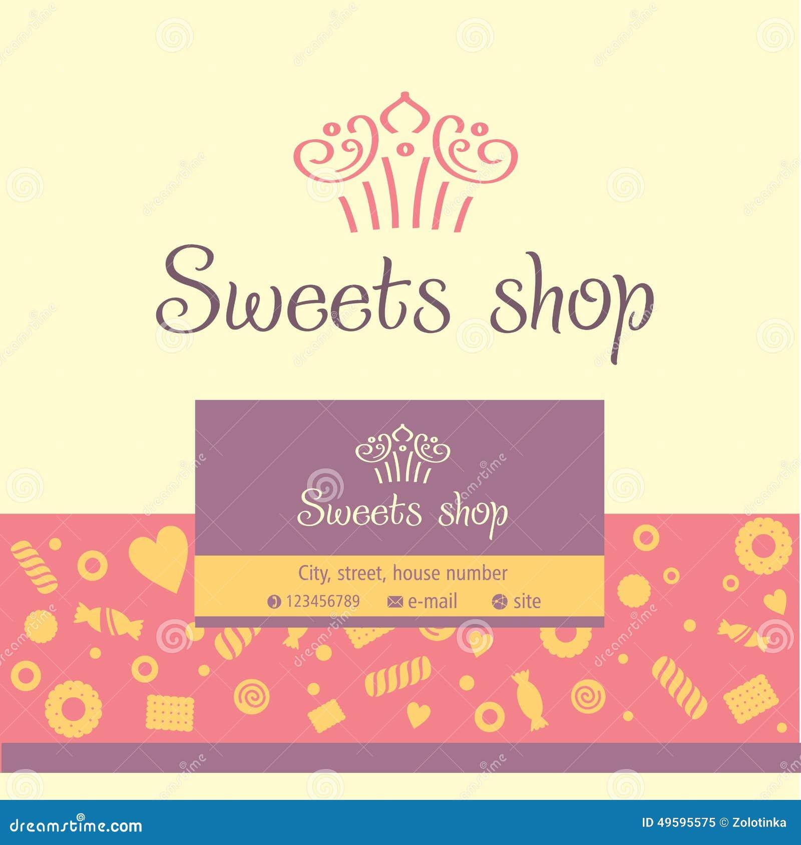 Vektorlogo Visitenkarte Für Einen Süßwarenladen Vektor