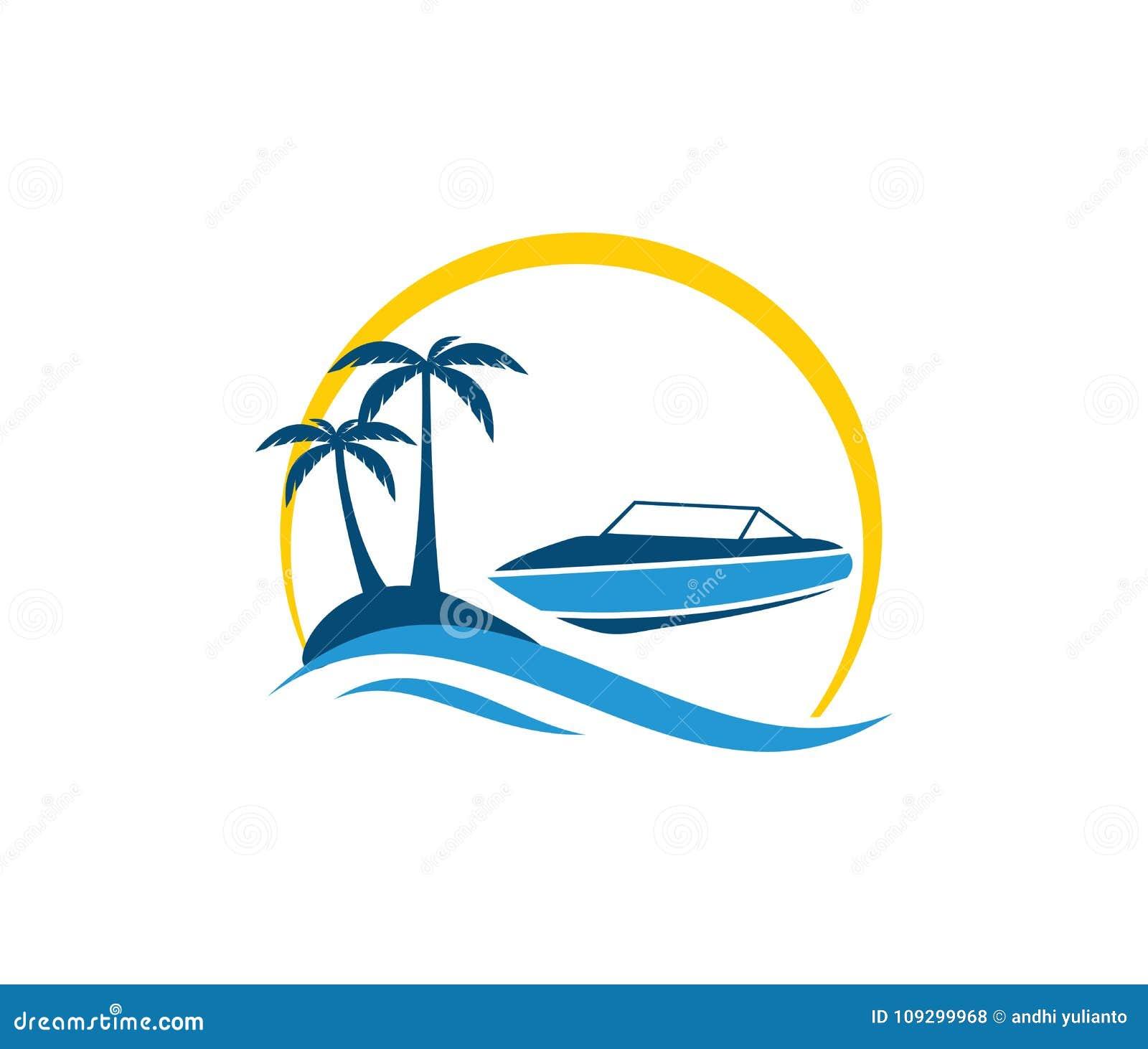 Vektorlogodesign av turism för segling för sommar för strand för havhavsvatten