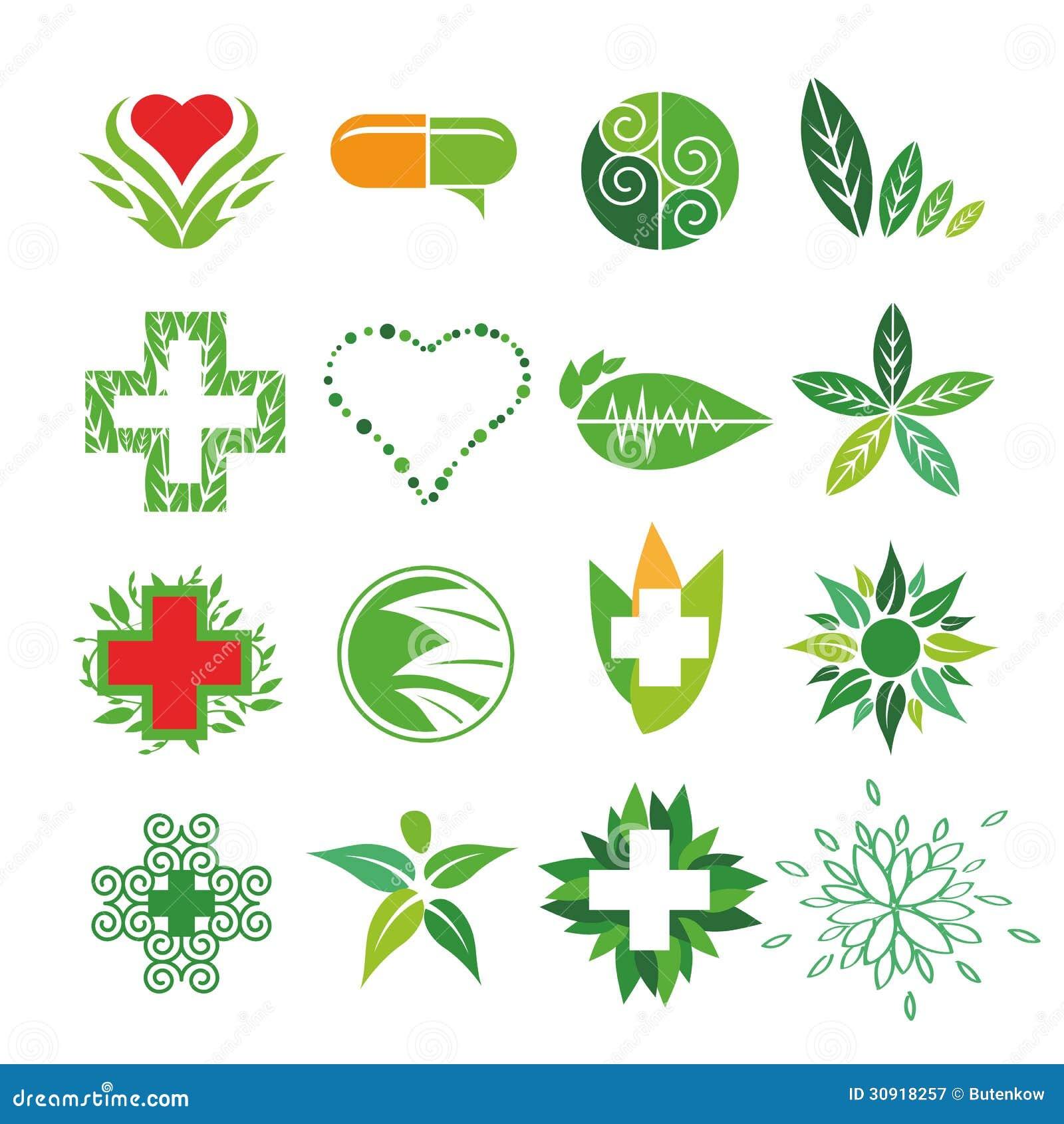 Vektorlogoer av medicin och apotek