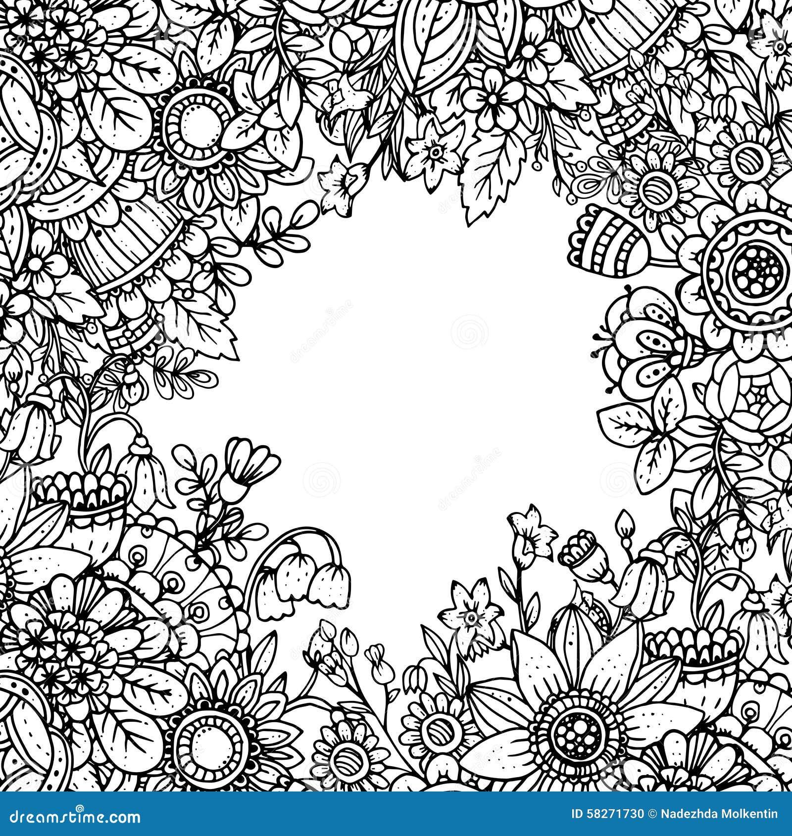 Vektormall med den härliga monokromma blom- modellen i dood