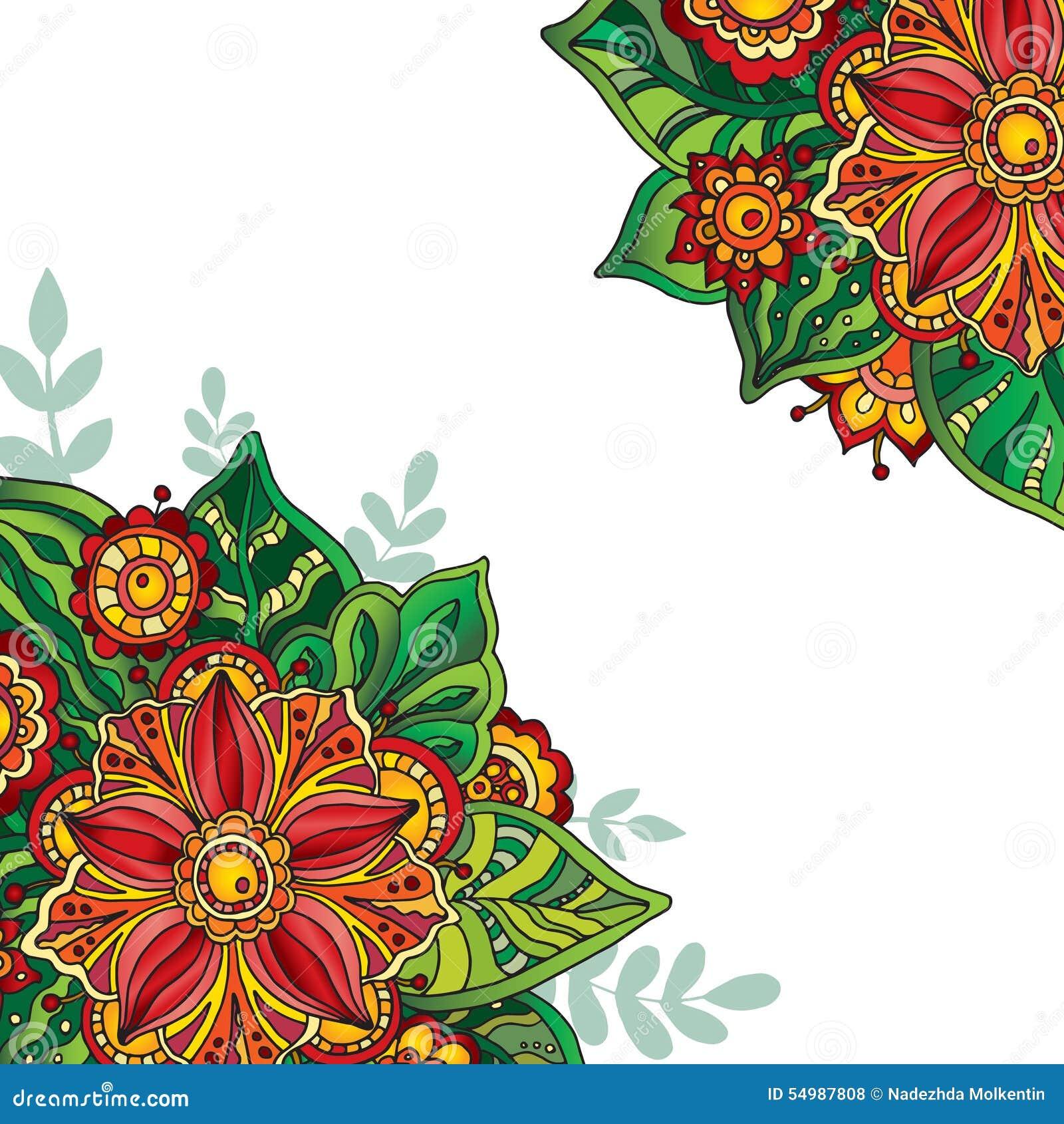 Vektormall med färgrika blommor och sidor för att hälsa ca