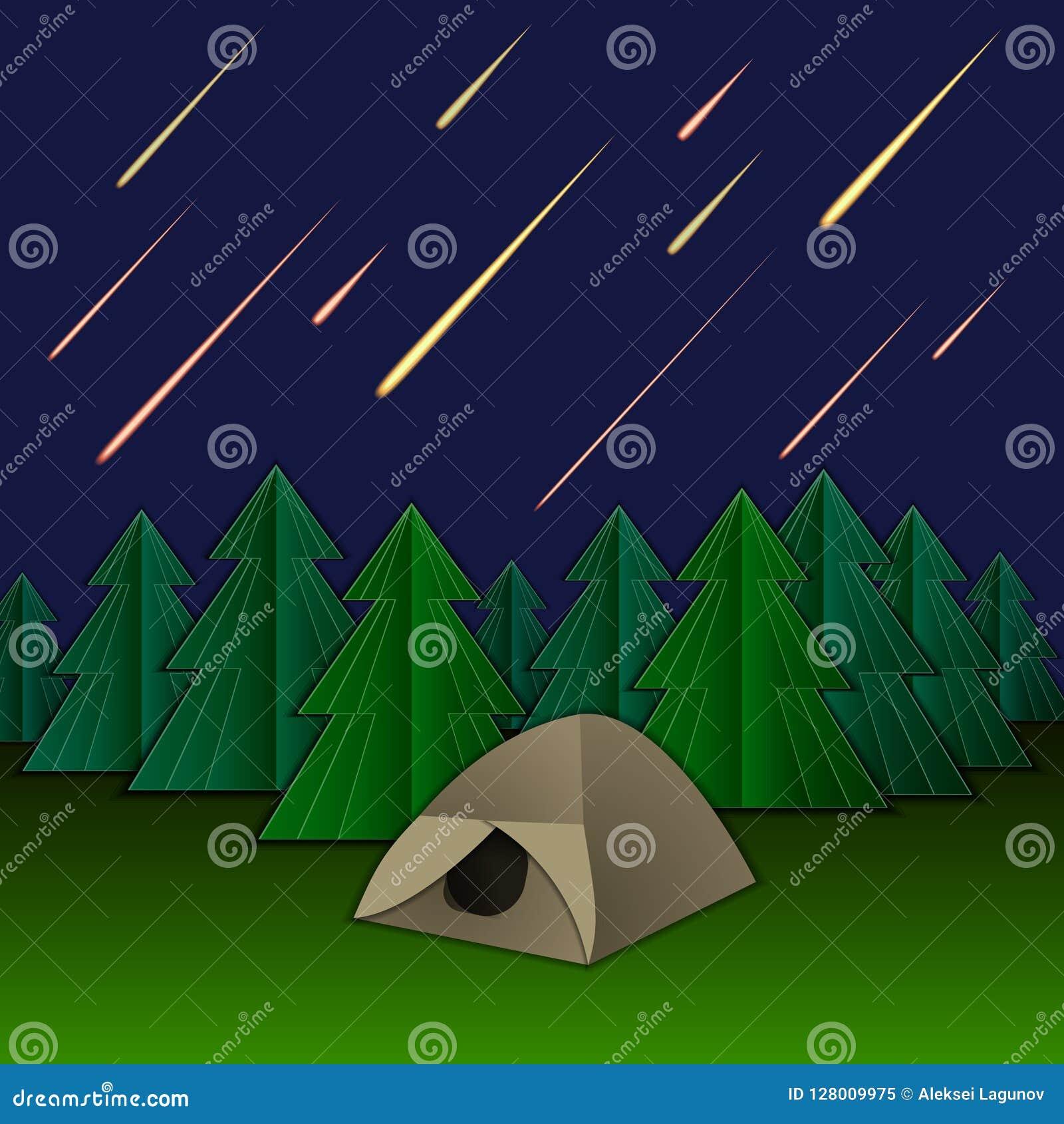Vektormeteorregn, tält och granträd, glänsande meteor på himlen