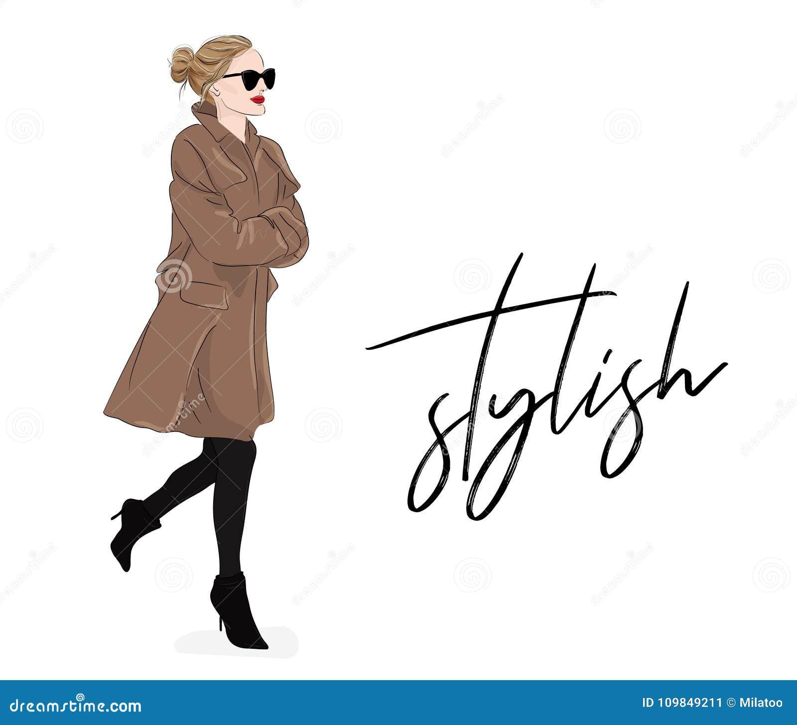 Vektormodeillustration: Mädchen im beige Mantel und in der Sonnenbrille Plakat der vorbildlichen Zeichnung des Frühlings-Herbstes