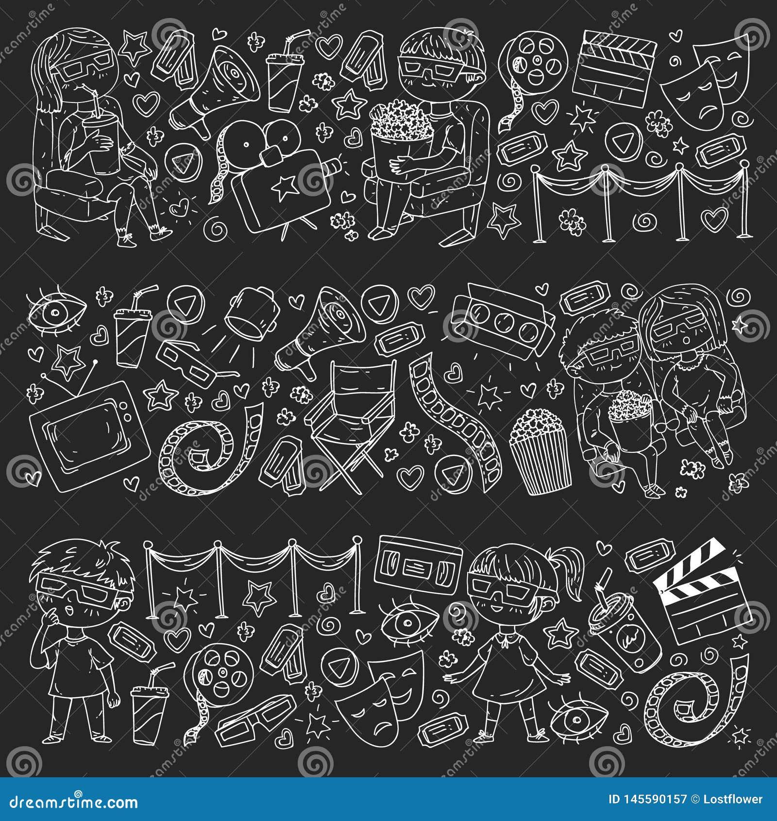 Vektormodell med biosymboler av filmbiografen, TV, popcorn, videogem