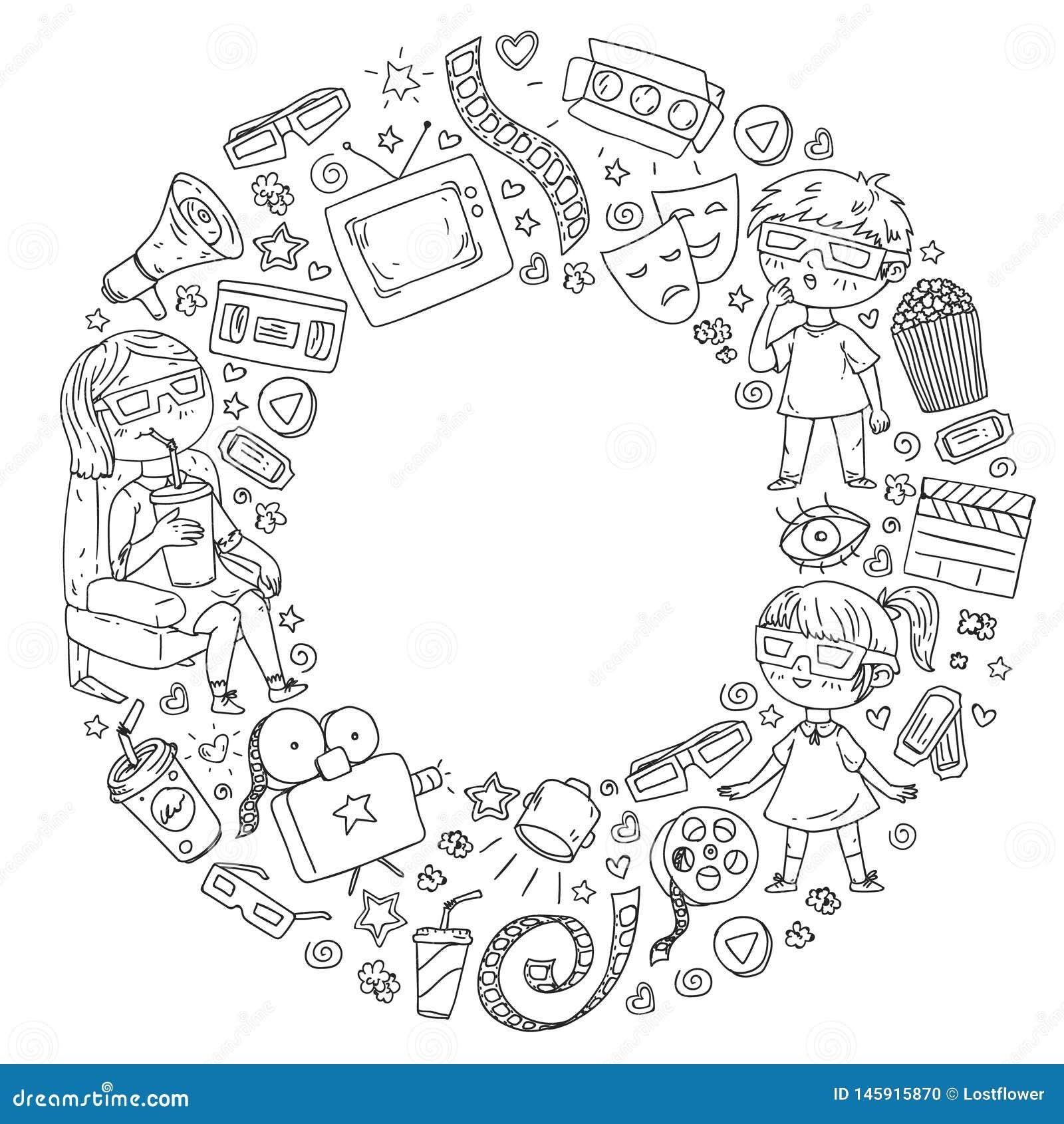 Vektormodell med biosymboler av filmbiografen, TV, popcorn, videogem Hålla ögonen på för dagis och för skolbarn