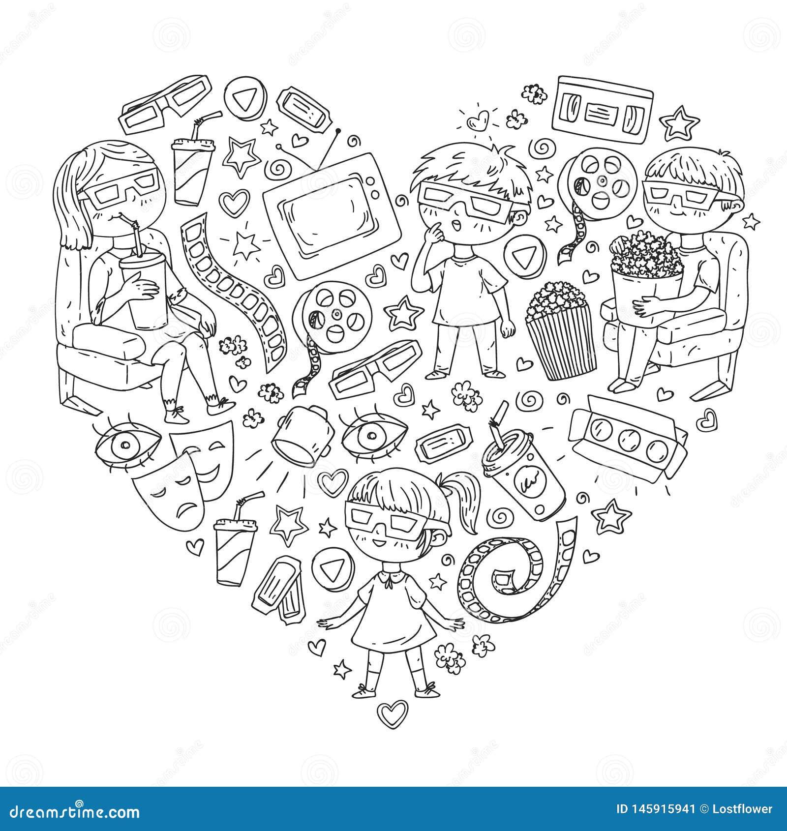 Vektormodell med biosymboler av filmbiografen, TV, popcorn, videogem H?lla ?gonen p? f?r dagis och f?r skolbarn