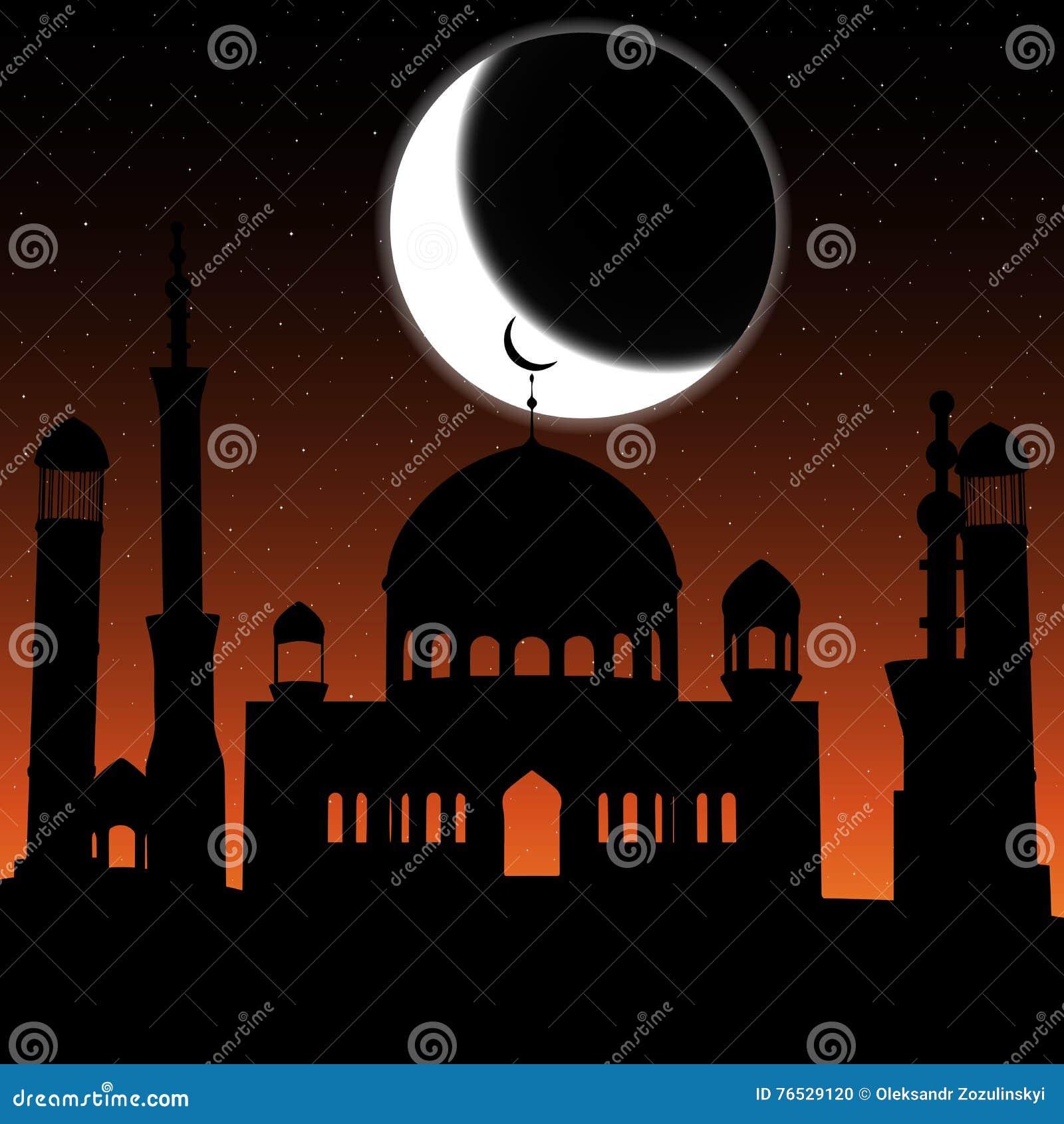 Vektormoskékontur i natthimmel med den växande månen och stjärnor