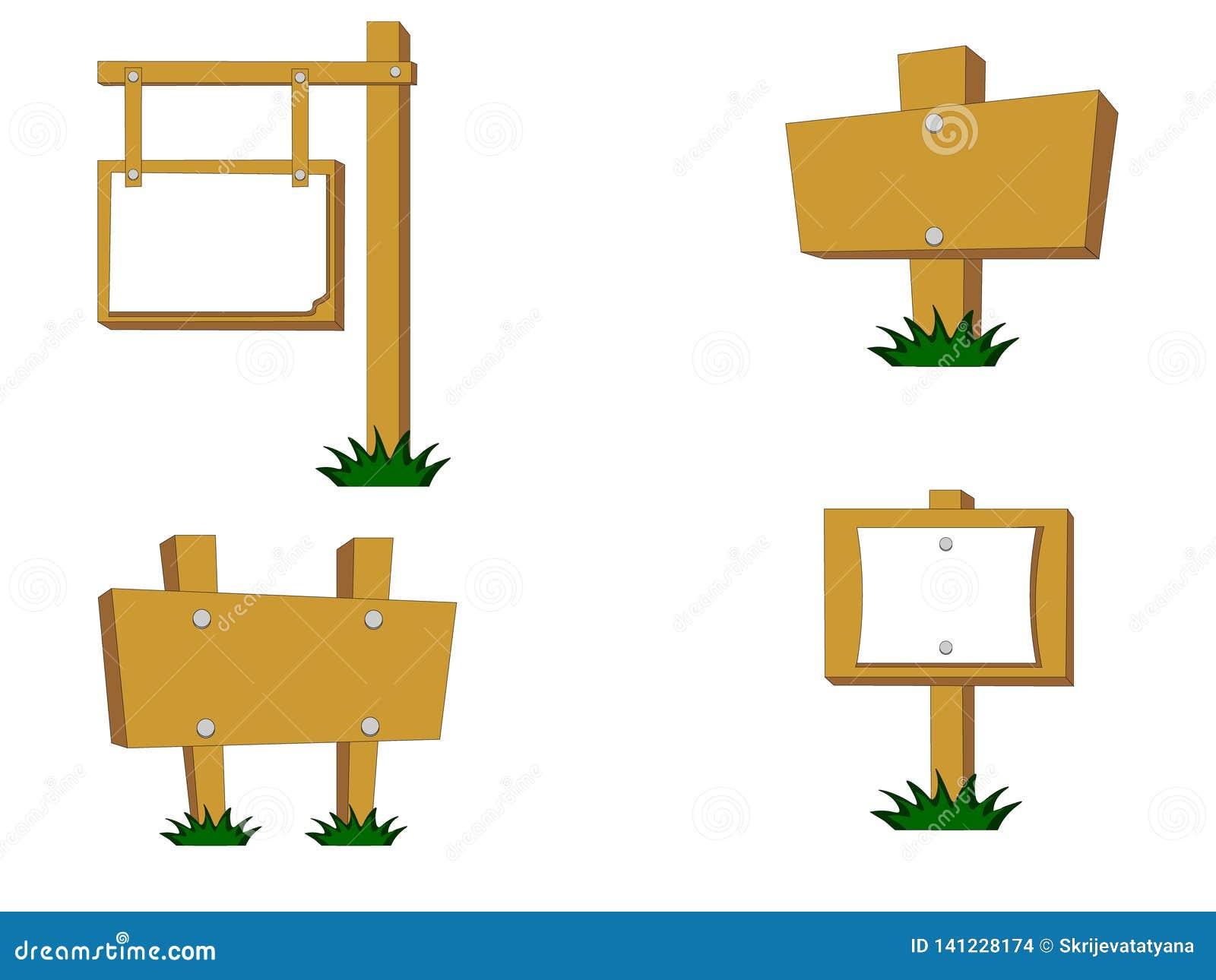 Vektorn lagerför uppsättningen av olika trävägmärken med gräs