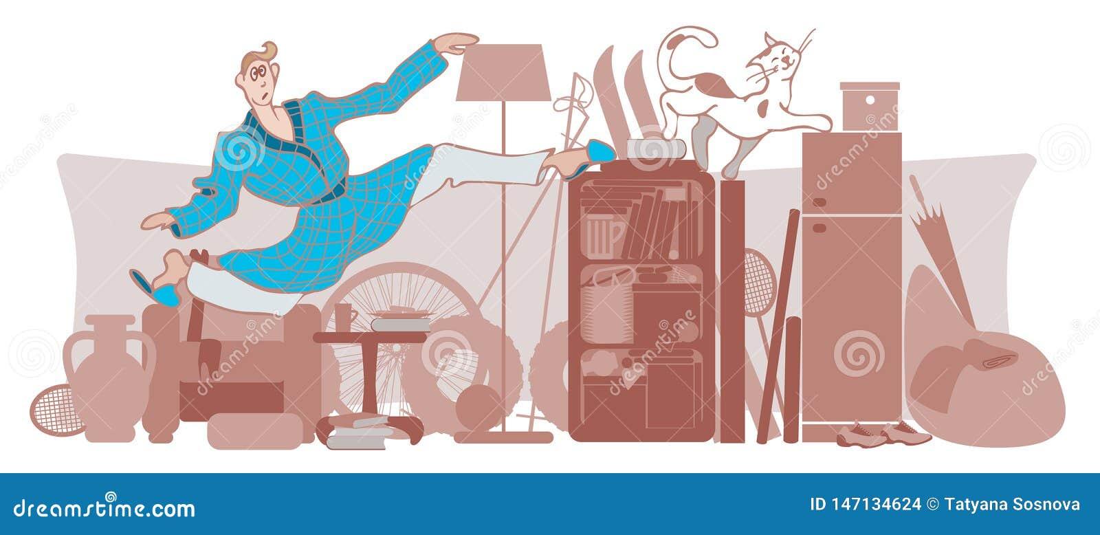 Vektorn mannen och katten flyttar sig runt om ett belamrat hus